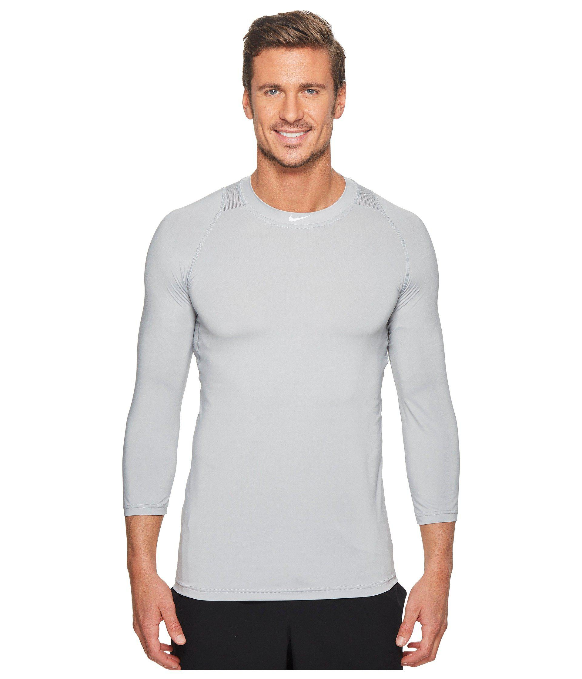 2b0176e5 Lyst - Nike Pro 3/4 Sleeve Baseball Top (wolf Grey) Men's Clothing ...