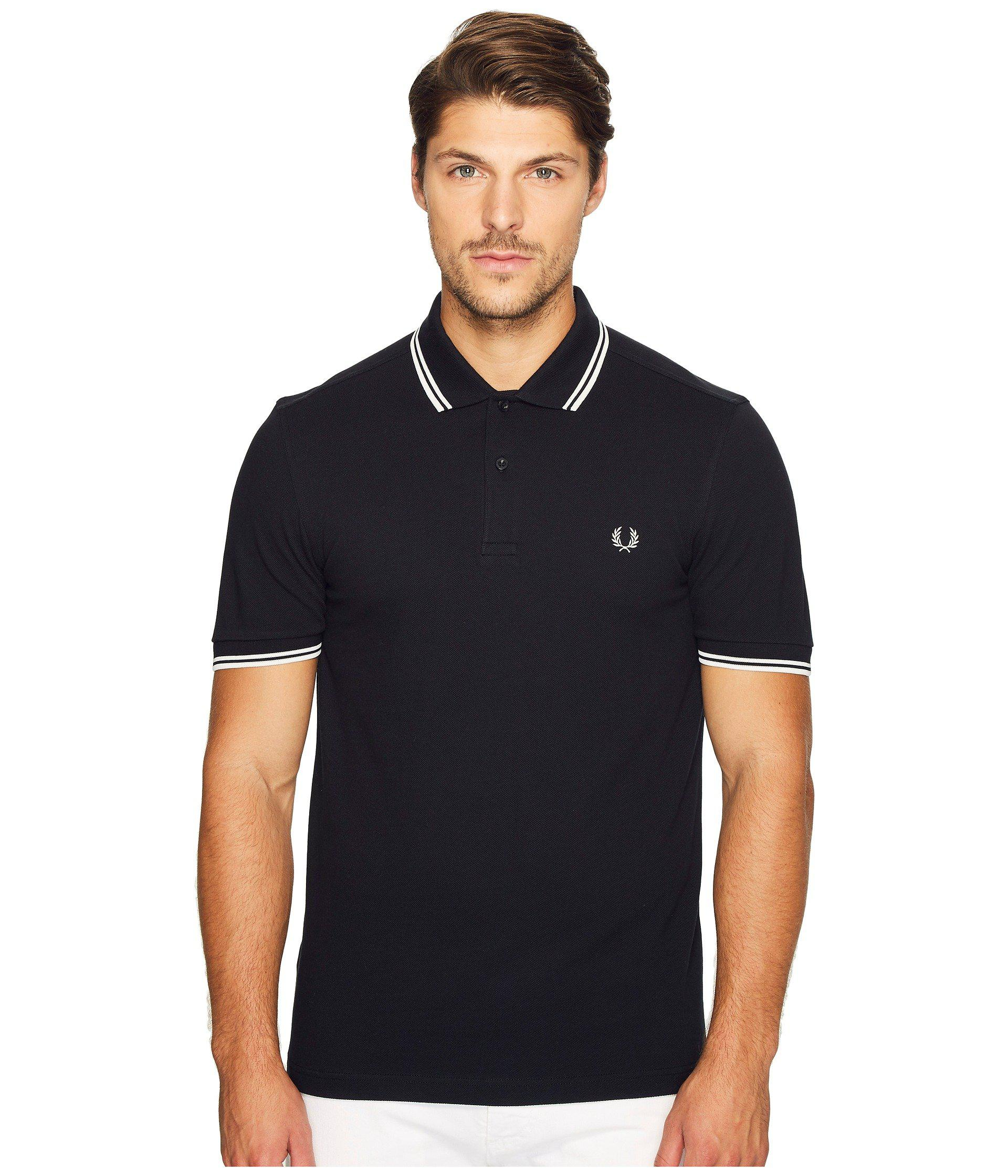 42ac97cde8 Lyst - Fred Perry Twin Tipped Polo in Black for Men - Save ...