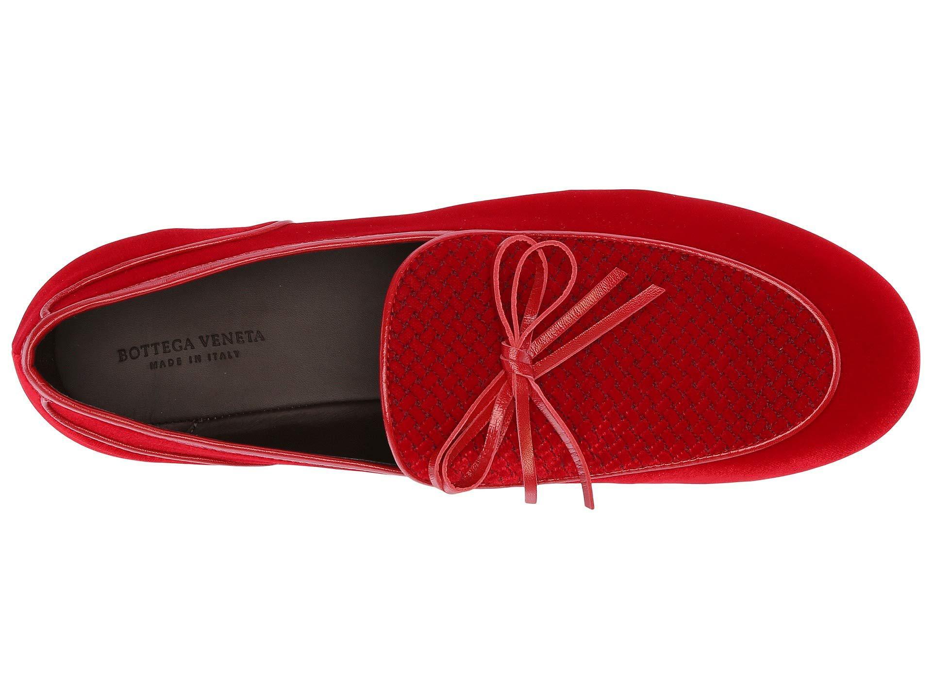 a933a591c58 Lyst - Bottega Veneta Microponza Velvet Loafer (new Red) Men s Shoes ...