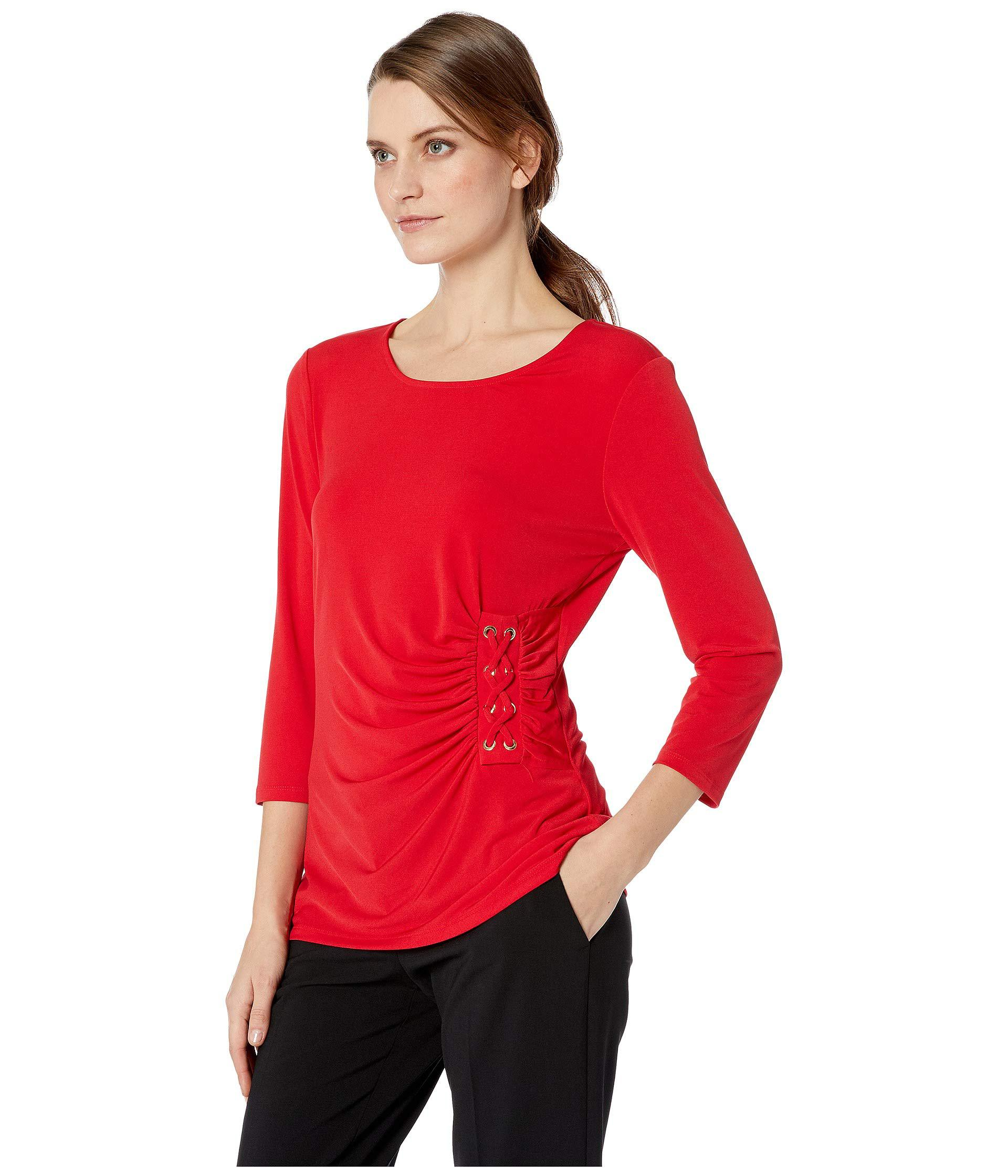 0b9227a8 Lyst - Calvin Klein 3/4 Sleeve Knit With Lacing (rouge) Women's Clothing in  Red