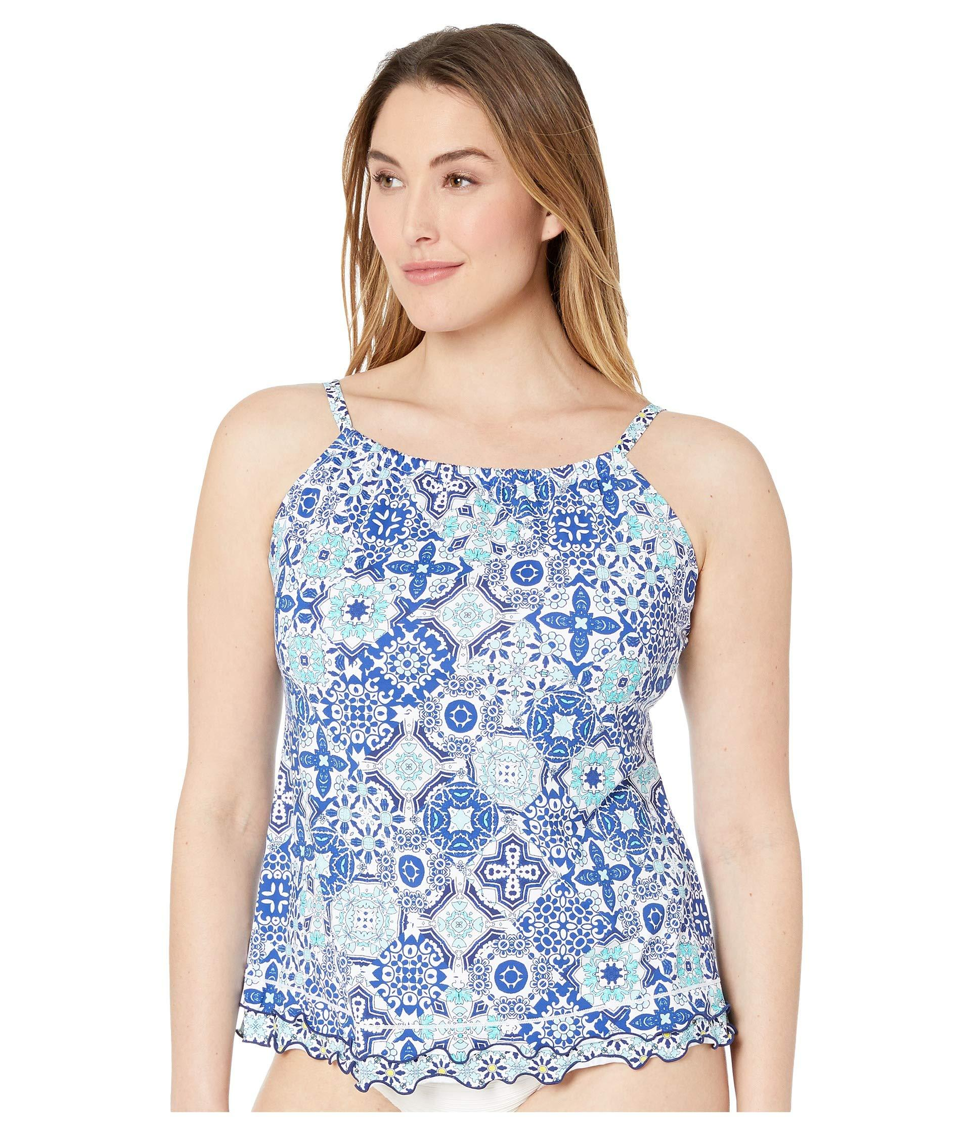 3389ae6708524 24th   Ocean. Blue Plus Size Stain Glass Mosaic Ruffle Hem High Neck Tankini  Top (navy) Women s Swimwear