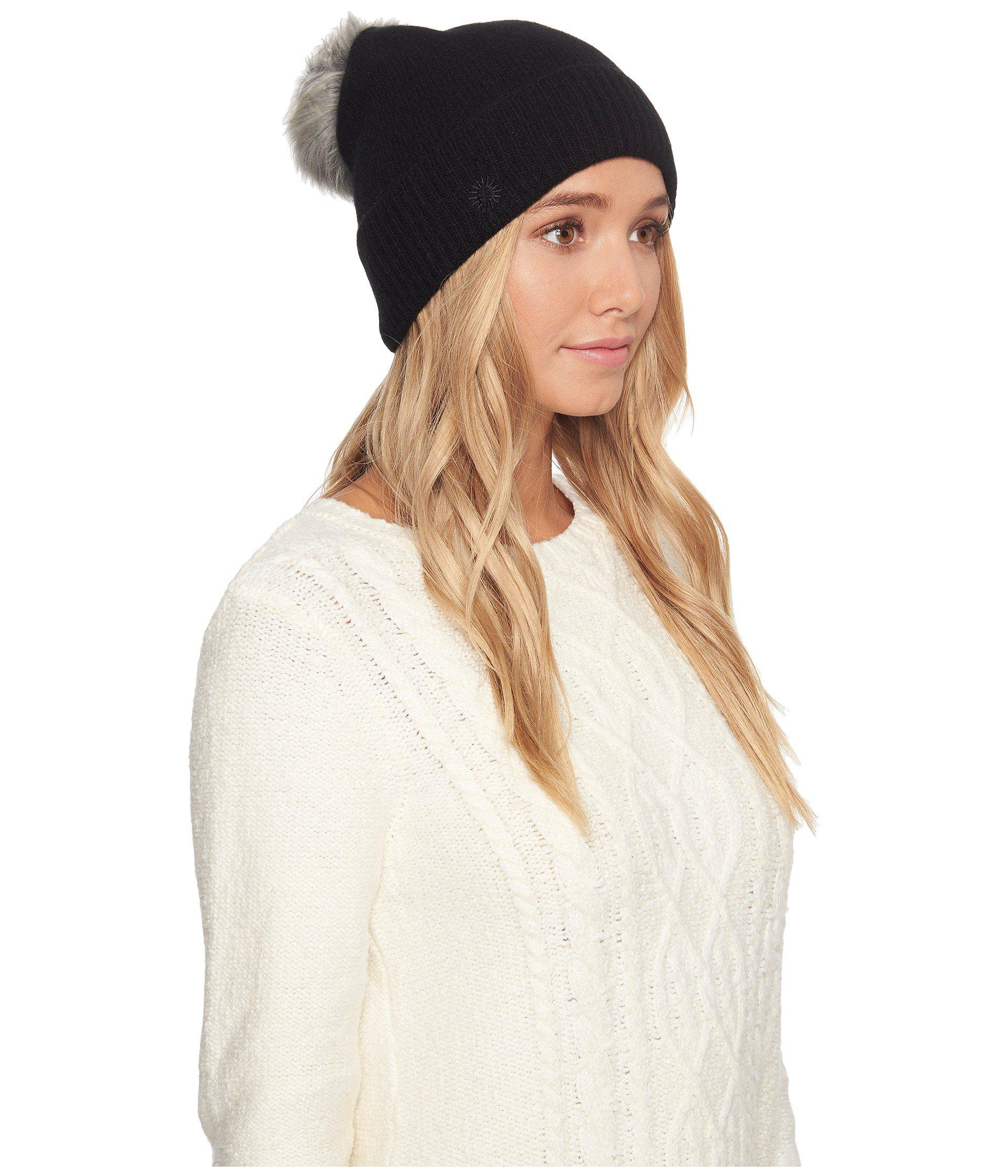 c5dc812e2a008 UGG Luxe Cuff Hat W  Oversized Toscana Pom in Black - Lyst