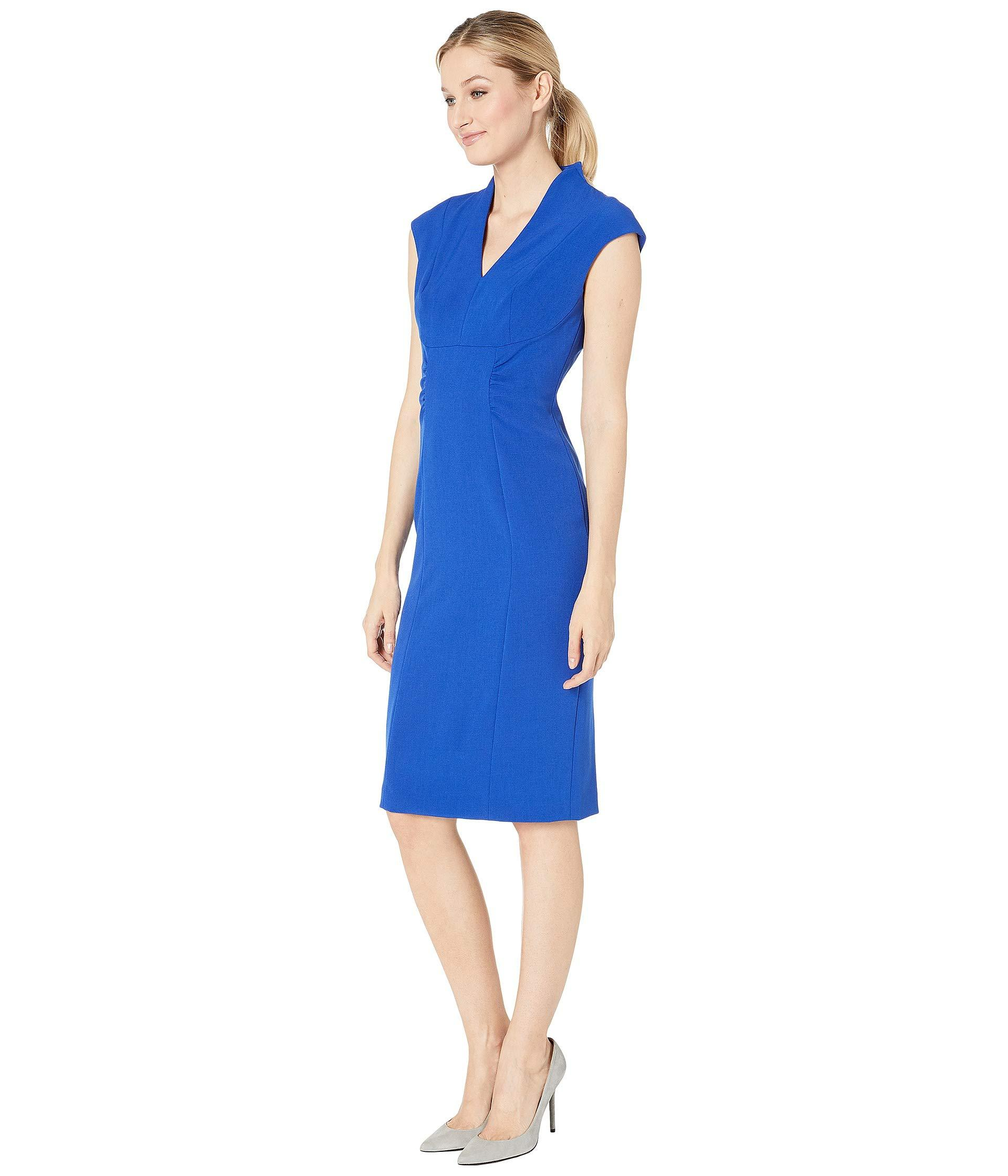 5976c30ef4f65 Lyst - Tahari Cap Sleeve Stretch Crepe Side Shirred Dress (spring Royal  Royal) Women's Dress in Blue