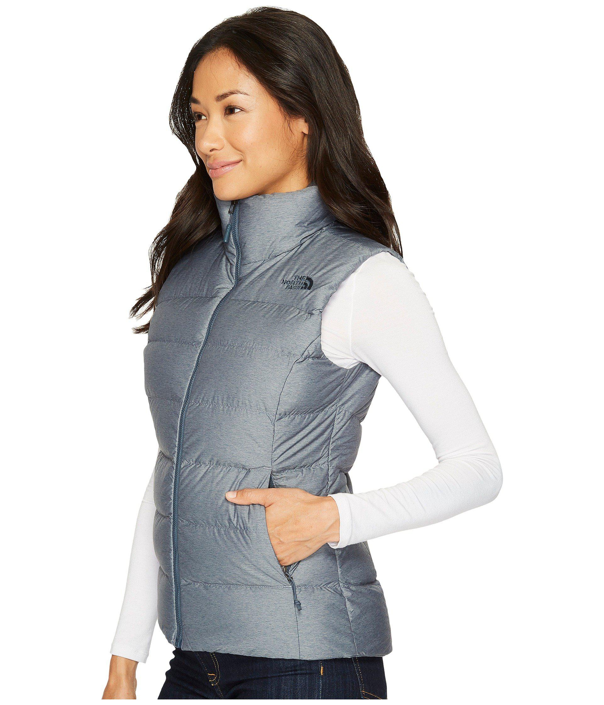 Lyst - The North Face Nuptse Vest (mid Grey tnf Black) Women s Jacket in  Blue - Save 6% 1a1dd5cc2