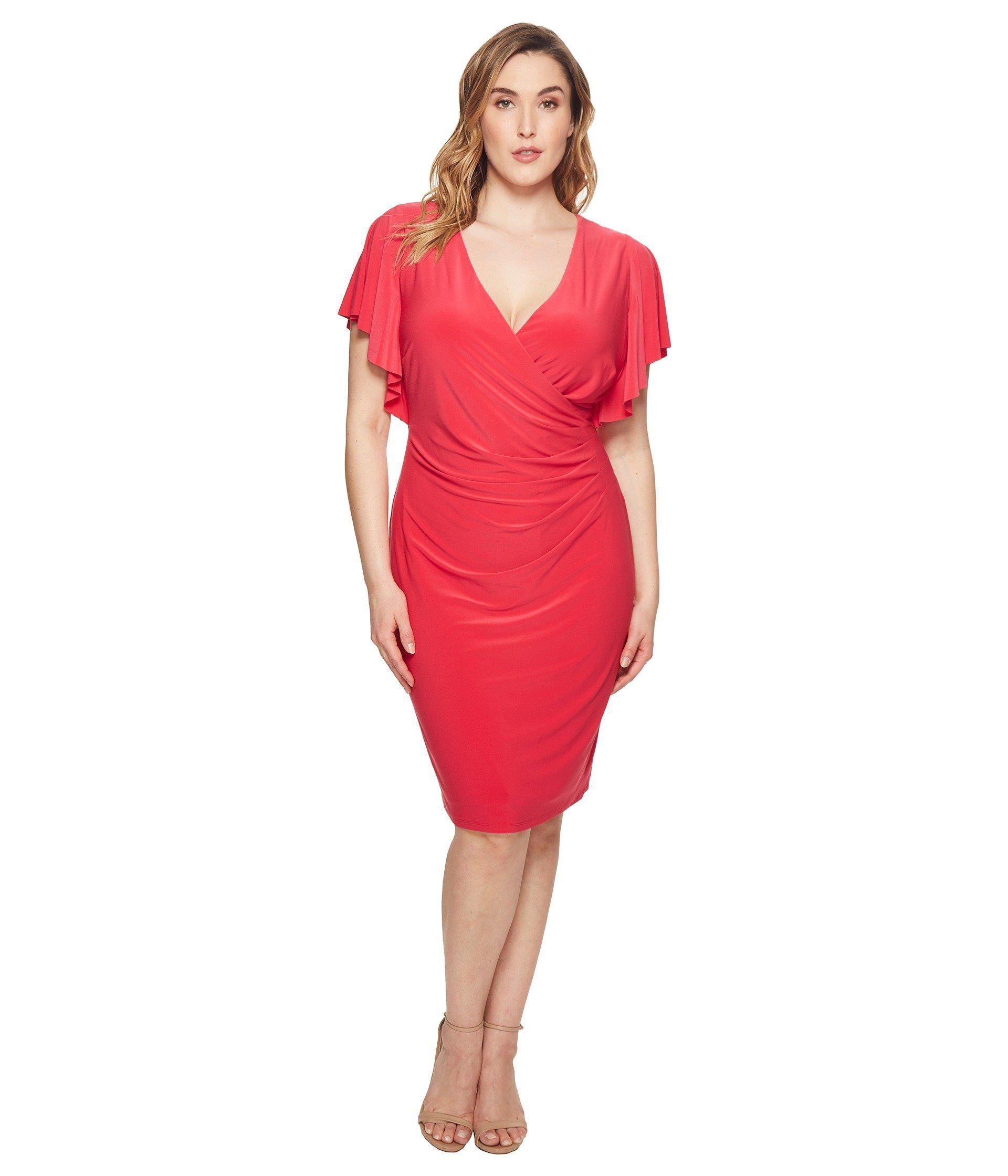 Lyst Lauren By Ralph Lauren Plus Size Kahlo Matte Jersey Dress In Red