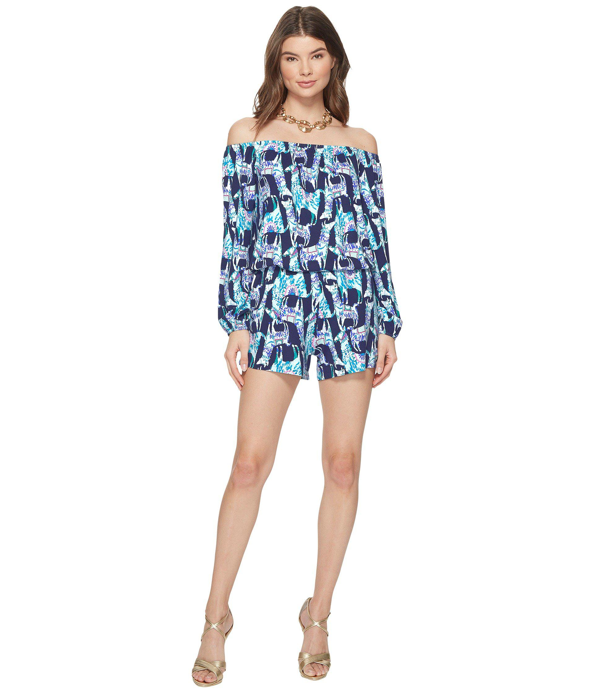 7caa4739af33 Lyst - Lilly Pulitzer Lana Romper in Blue