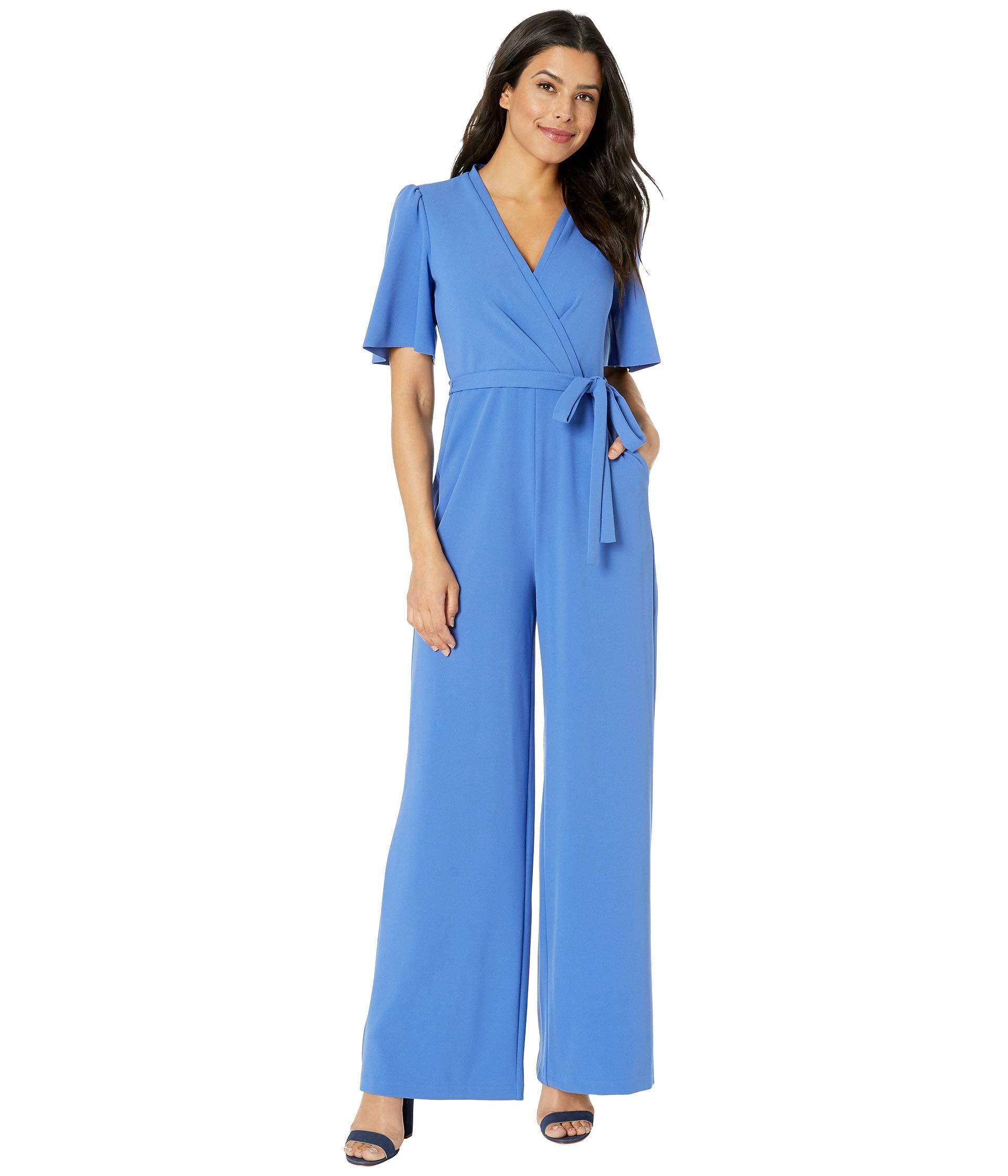 897227092ff Lyst - Donna Morgan Short Flutter Sleeve Wrap Front Crepe Jumpsuit ...