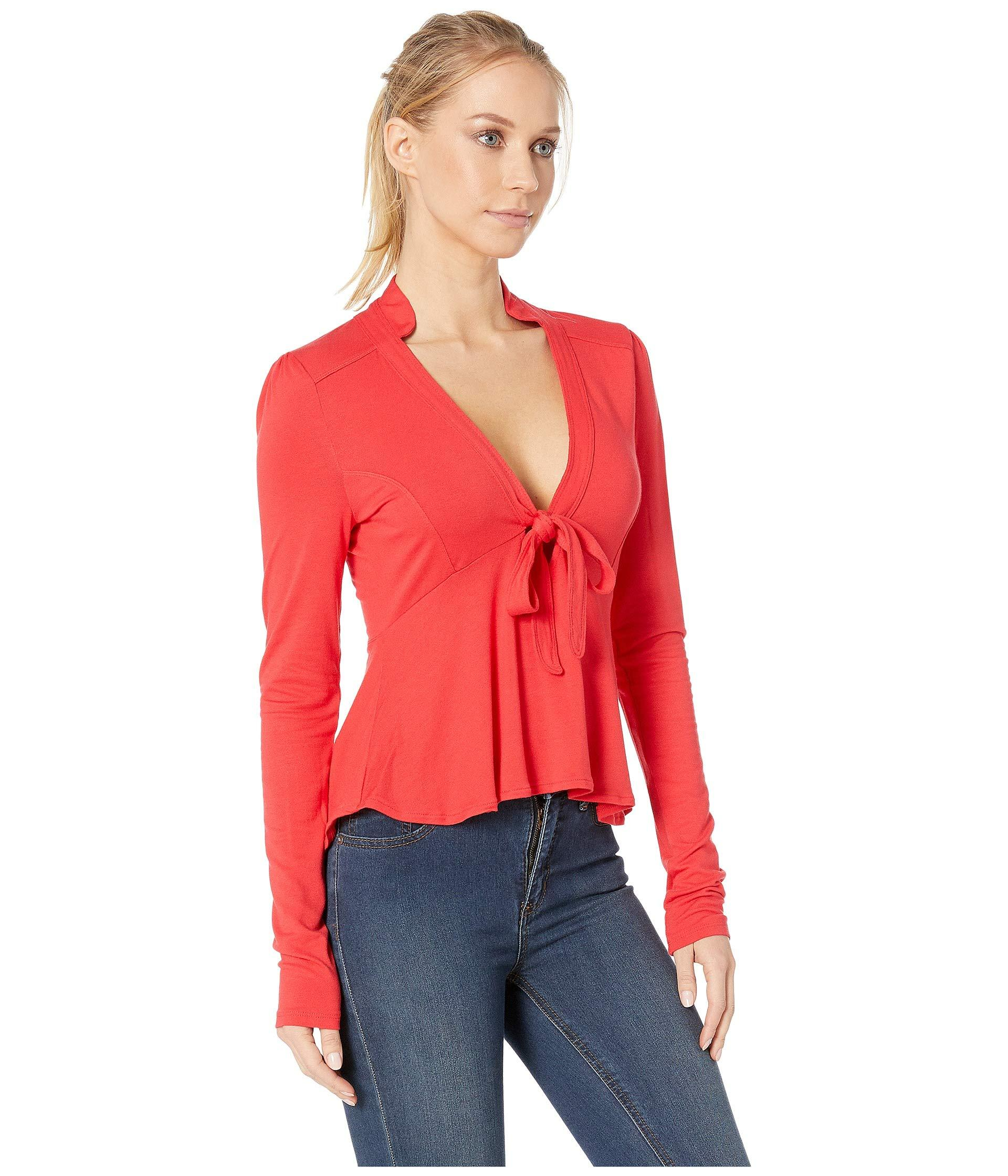 Lyst - Free People Lois Top (red) Women s Blouse in Red 5cafea867