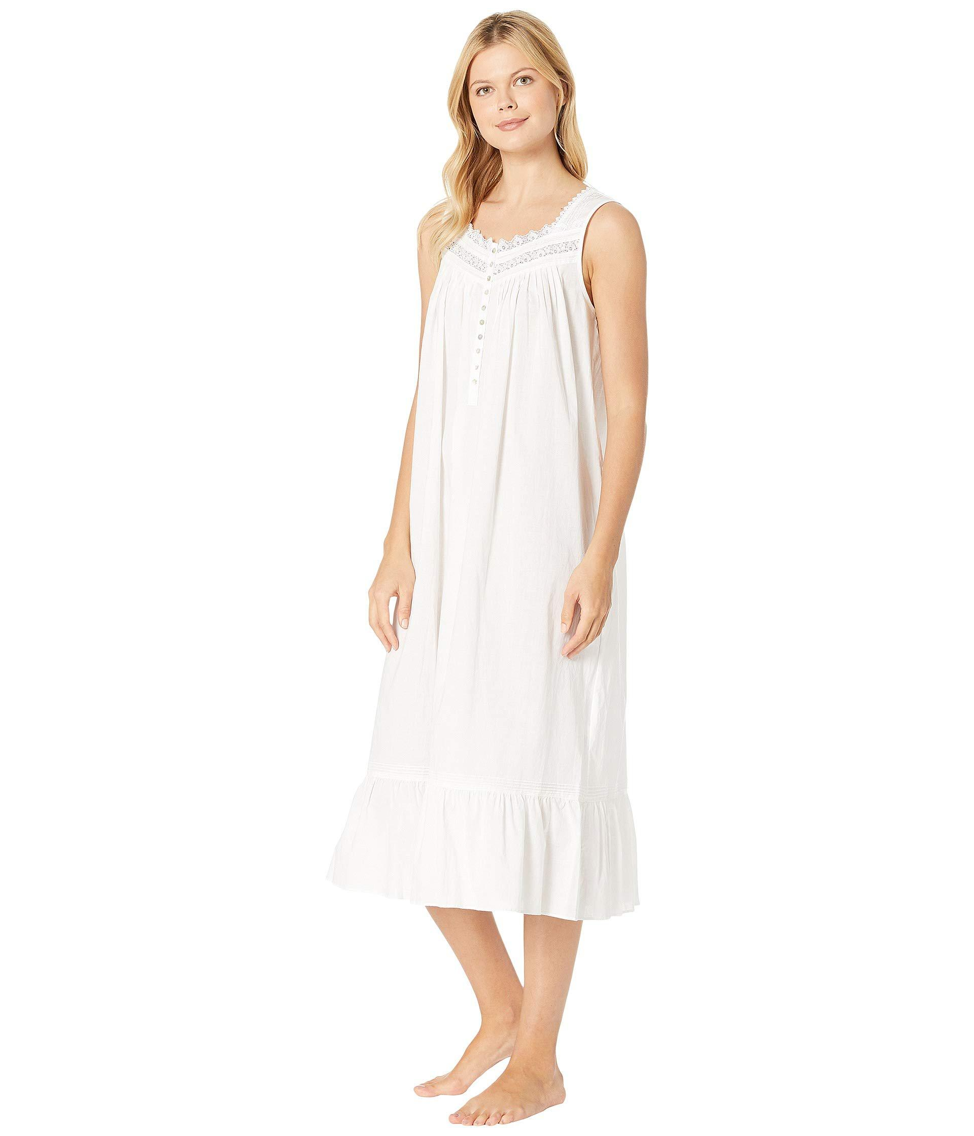 Lyst - Eileen West Cotton Lawn Ballet Nightgown (white Ground viney Floral)  Women s Pajama in White 17f942b0f