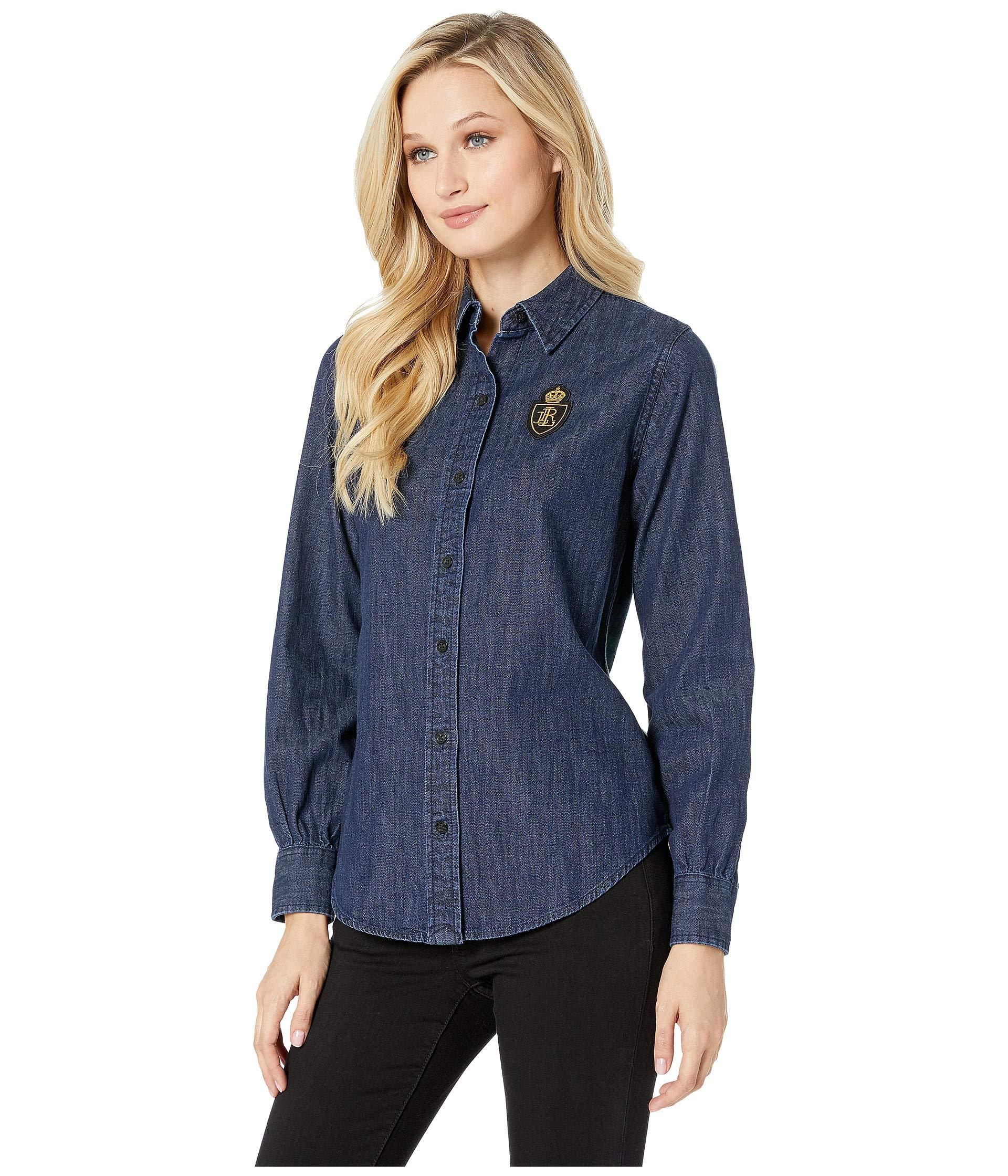b6fd56c58 Lyst - Lauren By Ralph Lauren Denim-plaid Patch Shirt (authentic Rinse  Wash) Women s Clothing in Blue