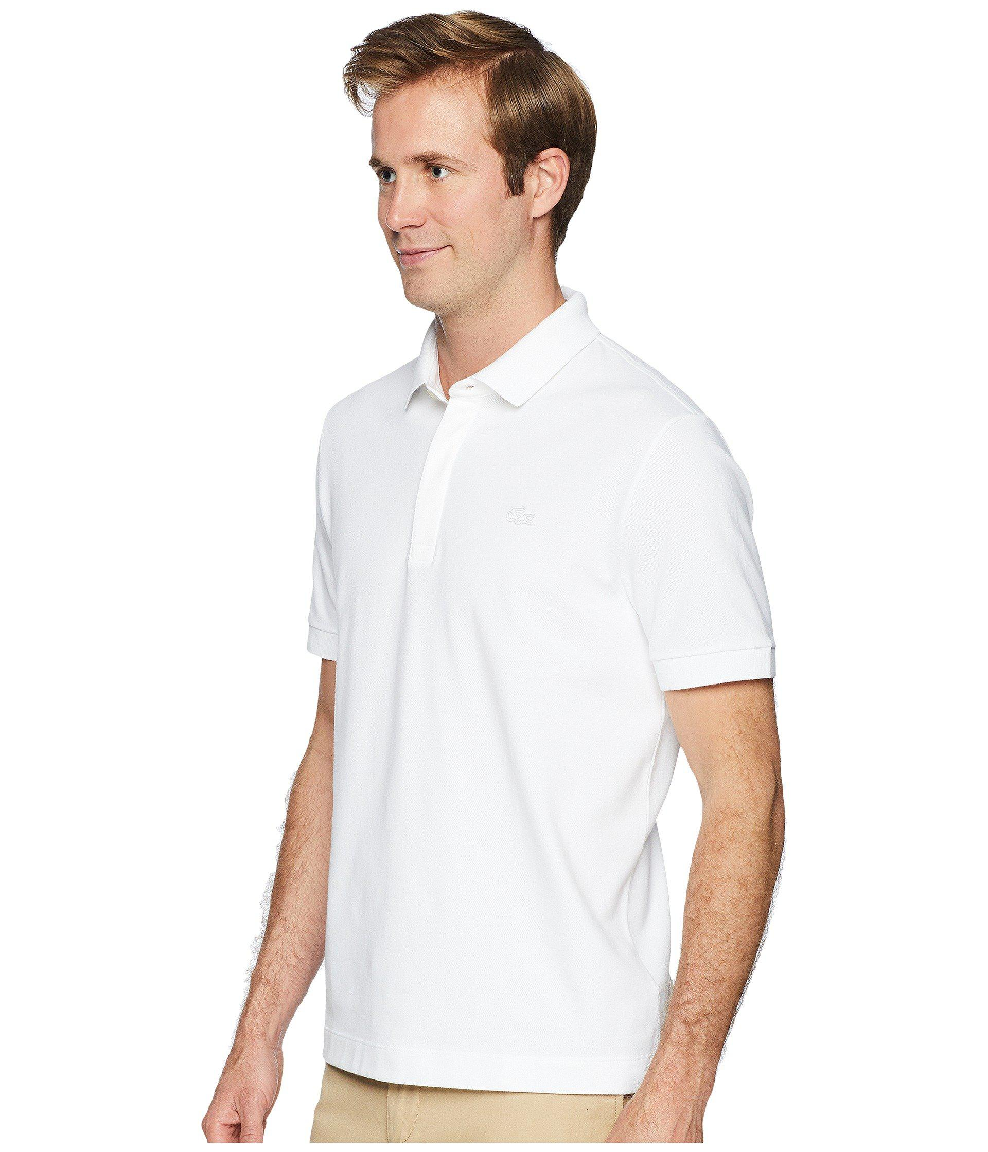 3619184faab0 Lyst - Lacoste Short Sleeve Solid Stretch Pique Regular (navy Blue) Men s  Short Sleeve Pullover in White for Men