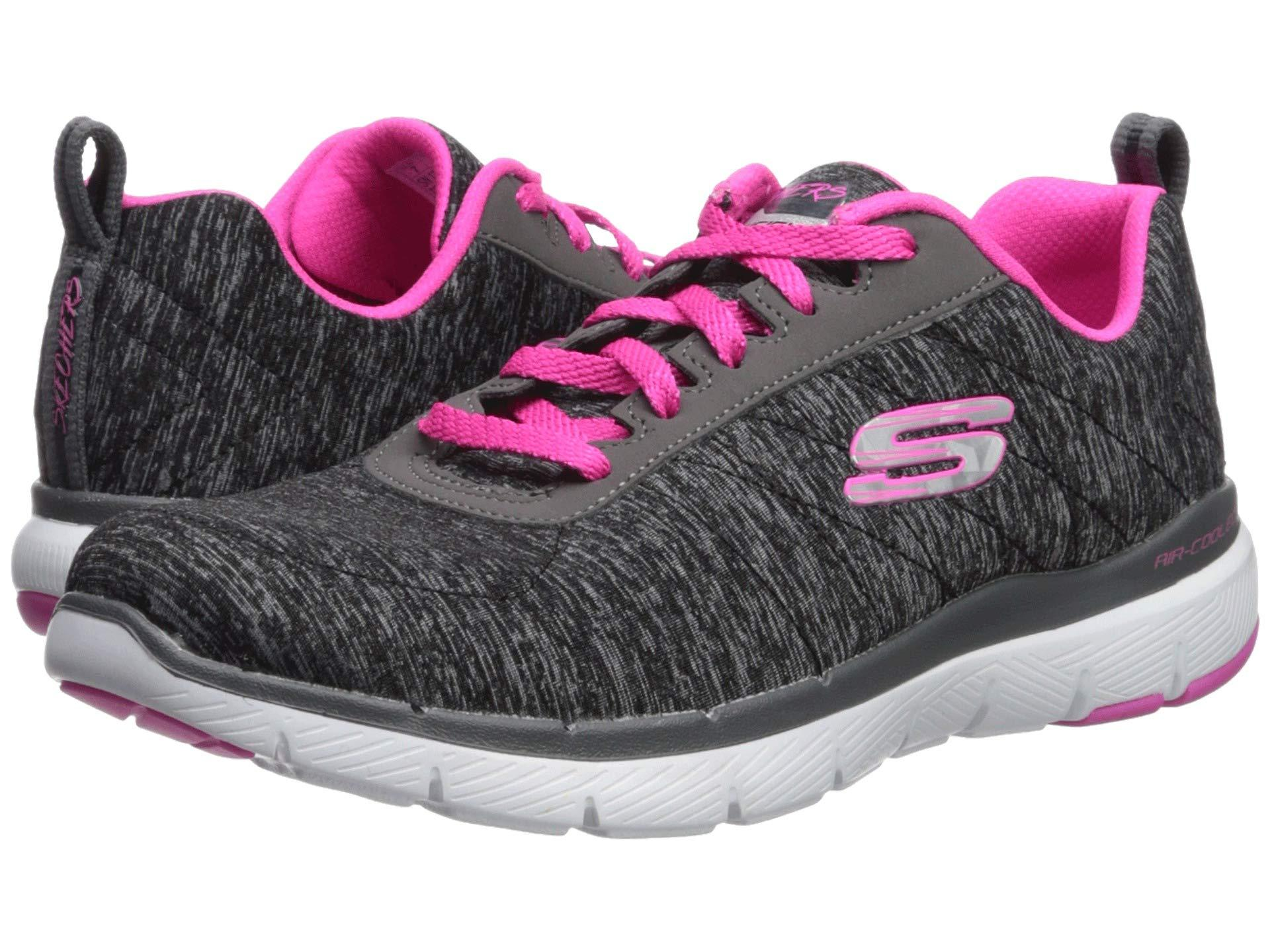84ef6507 Skechers. Flex Appeal 3.0 - Insiders (black/hot Pink) Women's Lace Up  Casual Shoes