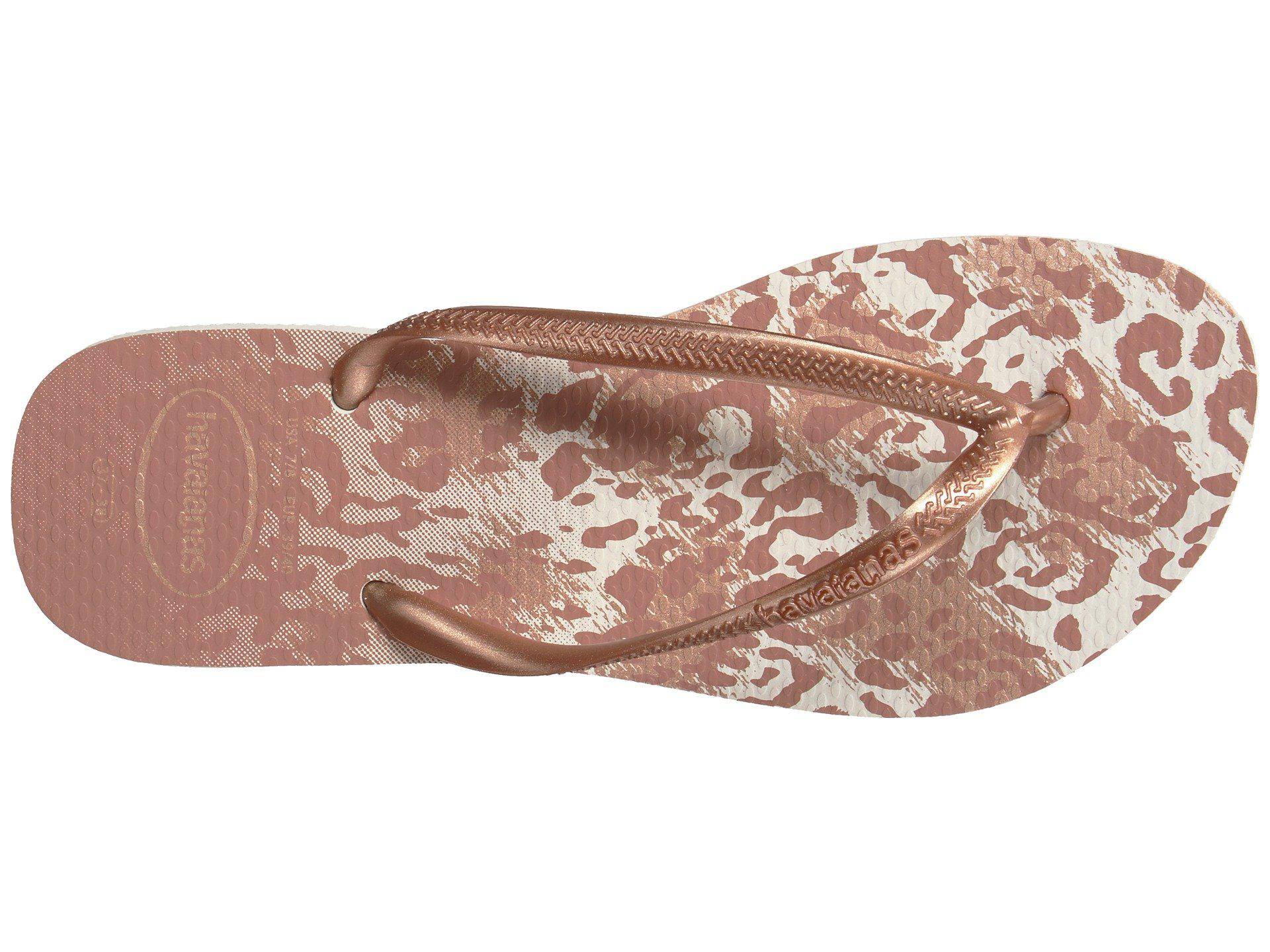 8de3836a9d8f Lyst - Havaianas Slim Animals Flip Flops (white golden Blush ...