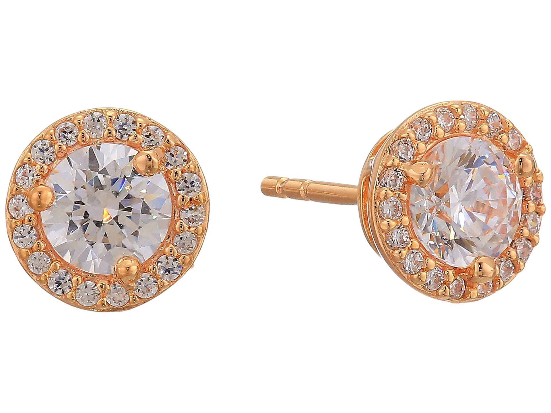 9660ebe18e90cf Michael Kors. Women's Metallic Precious Metal-plated Sterling Silver Pave  Logo Studs Earrings (gold ...