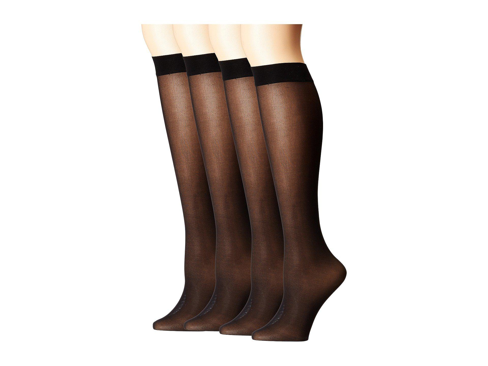 5c97af9876d Hue. Opaque Knee High 4-pair Pack (black) Women s Knee High Socks Shoes