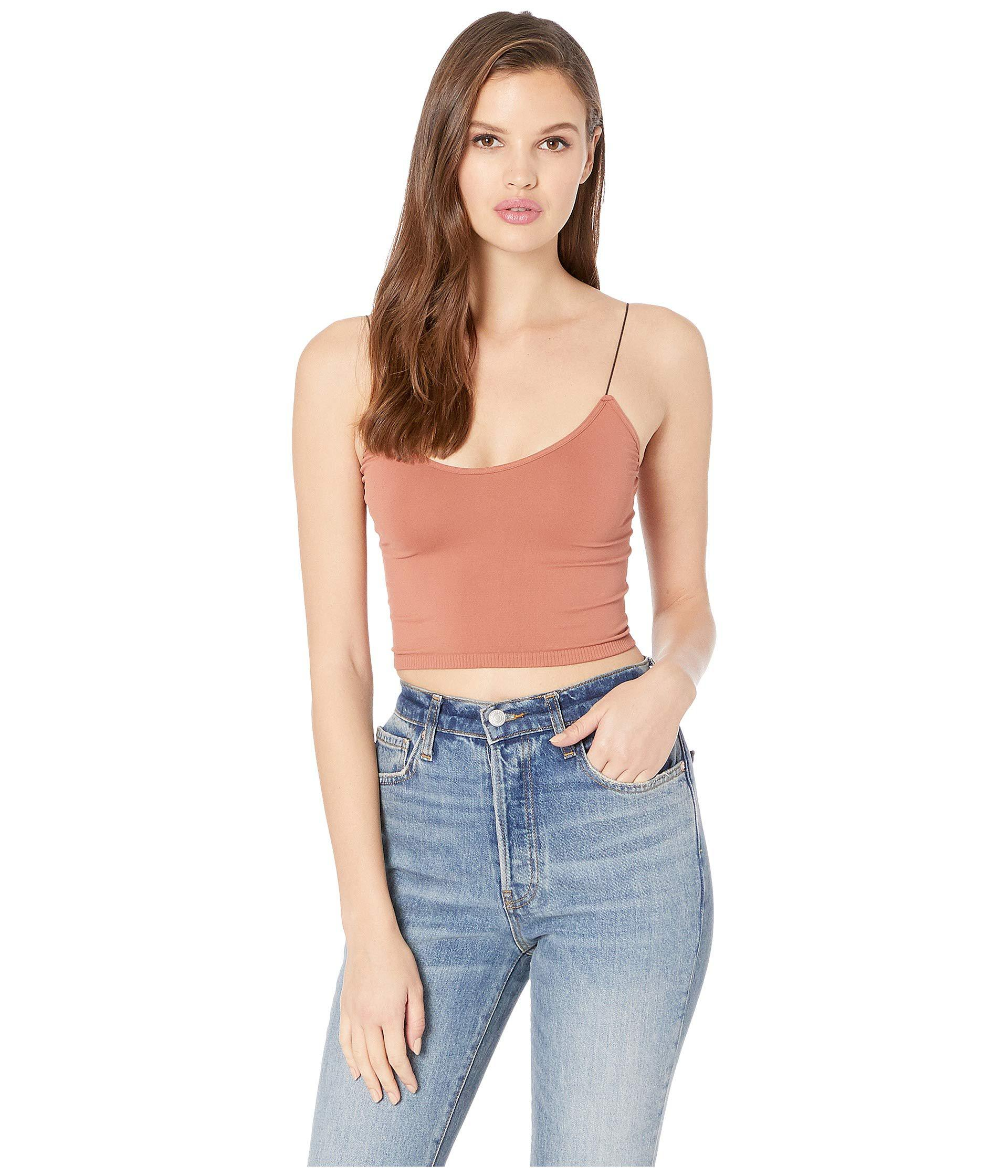21f1a89c7bb5b Free People. Blue Seamless Skinny Strap Crop Cami (black) Women s Sleeveless