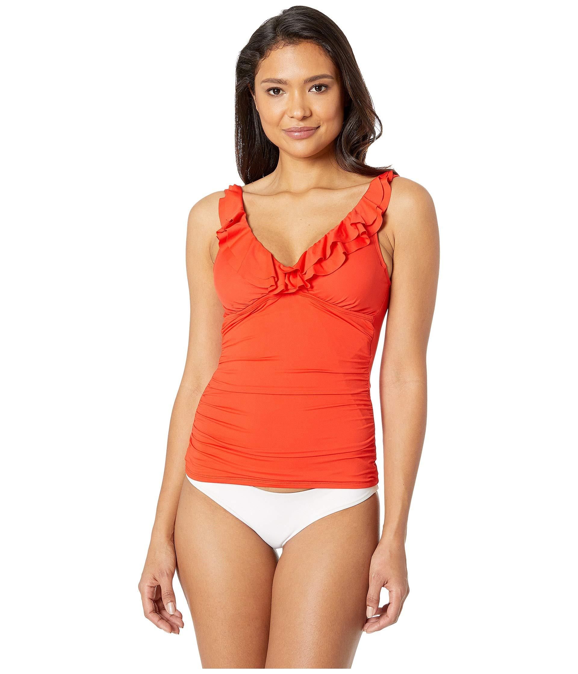 8d01e2c7f7096 Lauren by Ralph Lauren. Women s Red Beach Club Solids Ruffle Underwire  Tankini Top
