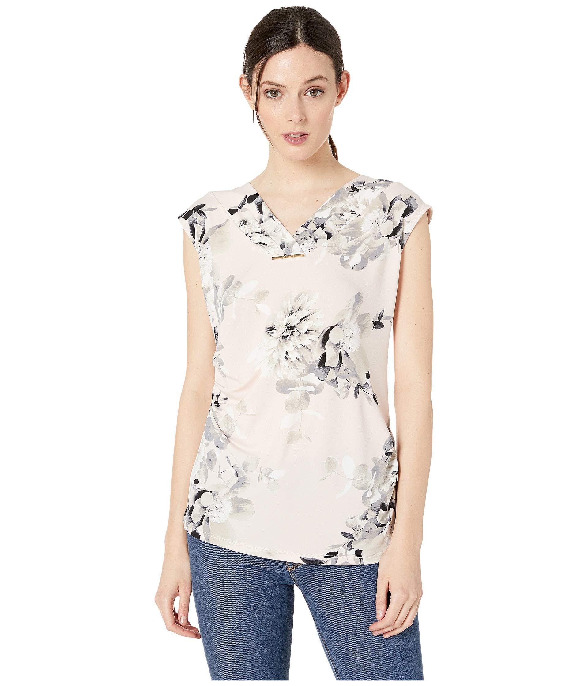 7397670c8cb698 Lyst - Calvin Klein Printed Sleeveless With Ruching And Bar (blush ...