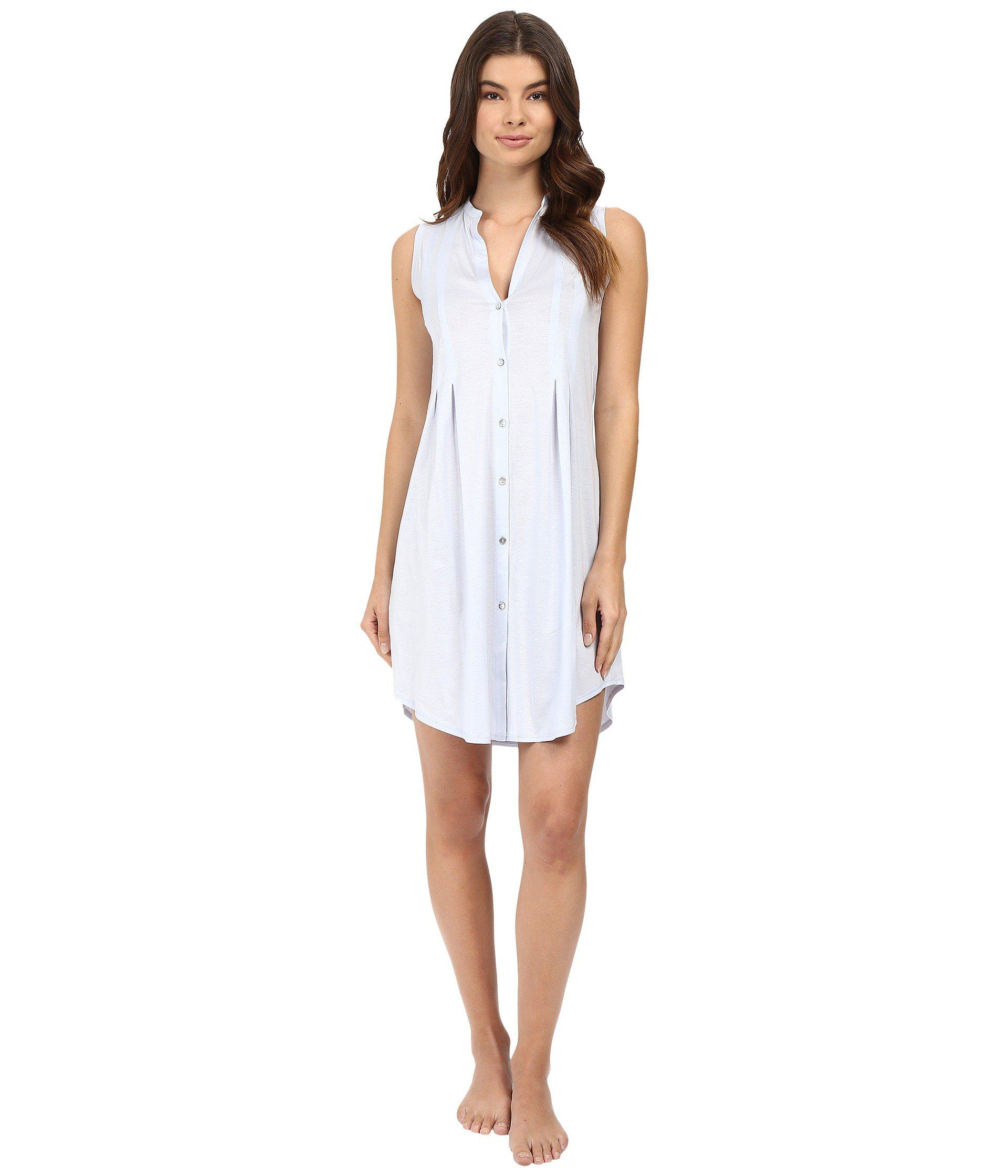 478a1ab7ec Lyst - Hanro Cotton Deluxe Button Front Tank Nightgown (tender Rose ...