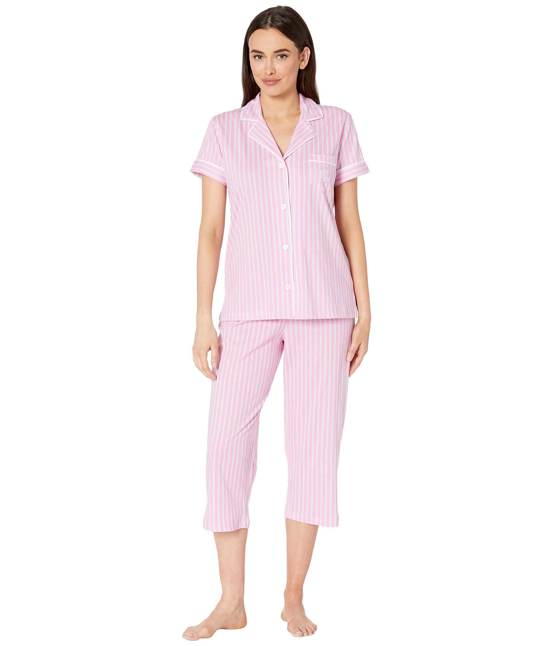 e3ca420e46f Lauren by Ralph Lauren. Short Sleeve Notch Collar Capris Pajama Set (pink  ...