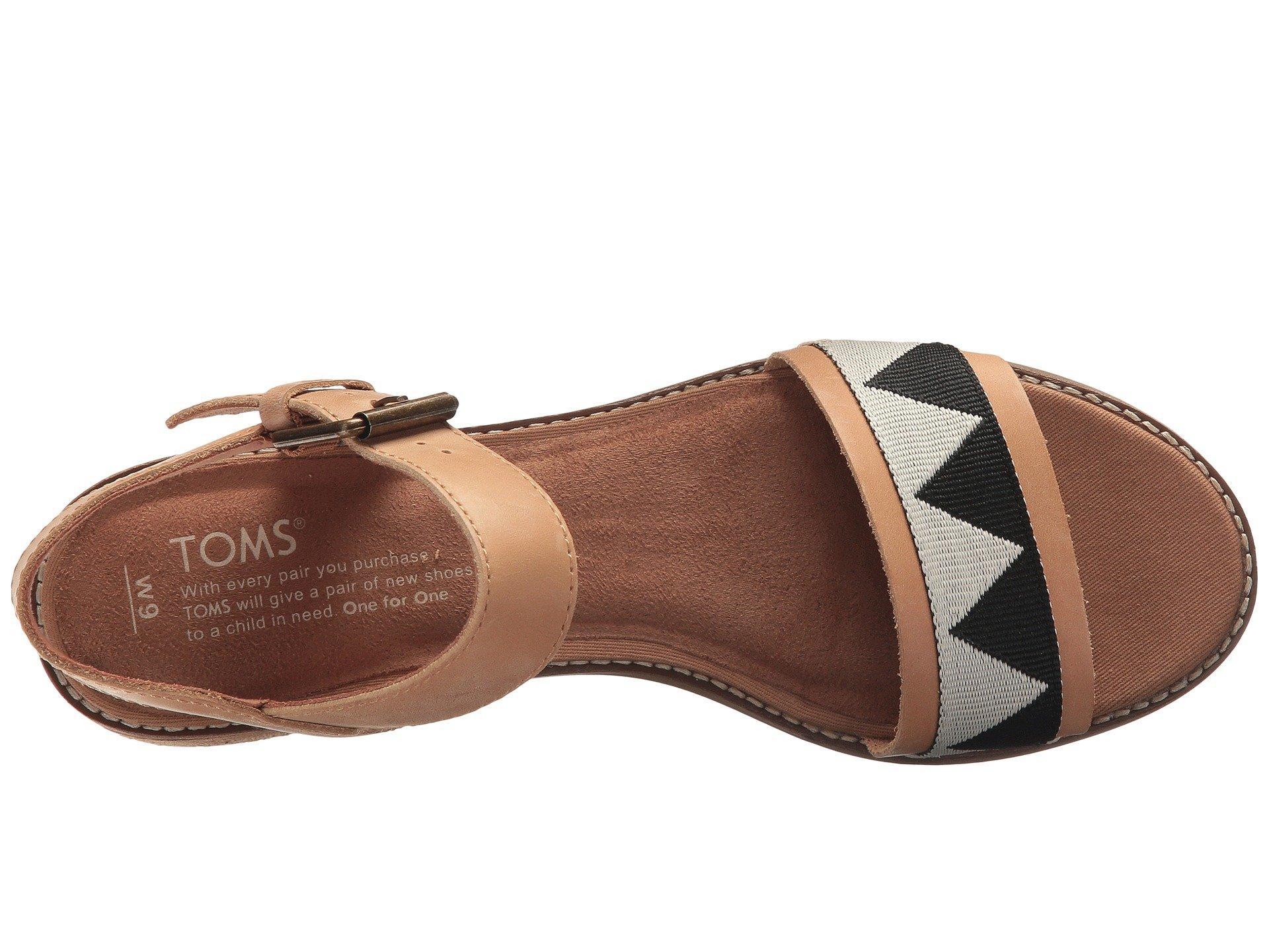 fe59065e3928 Lyst - TOMS Camilia (honey Leather geometirc Woven) Women s Sandals ...