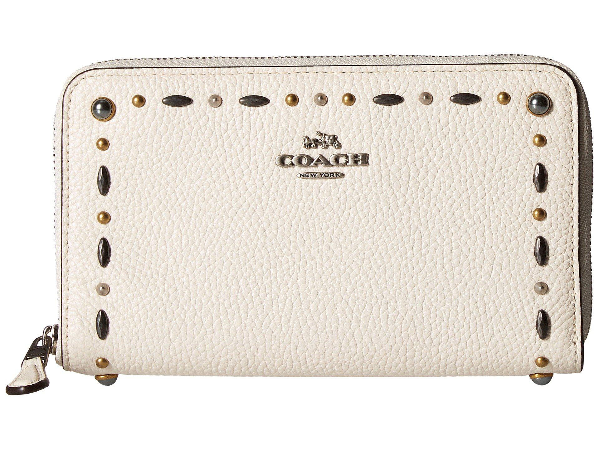 4871b543e8b Lyst - COACH Medium Zip Around Wallet With Prairie Rivets