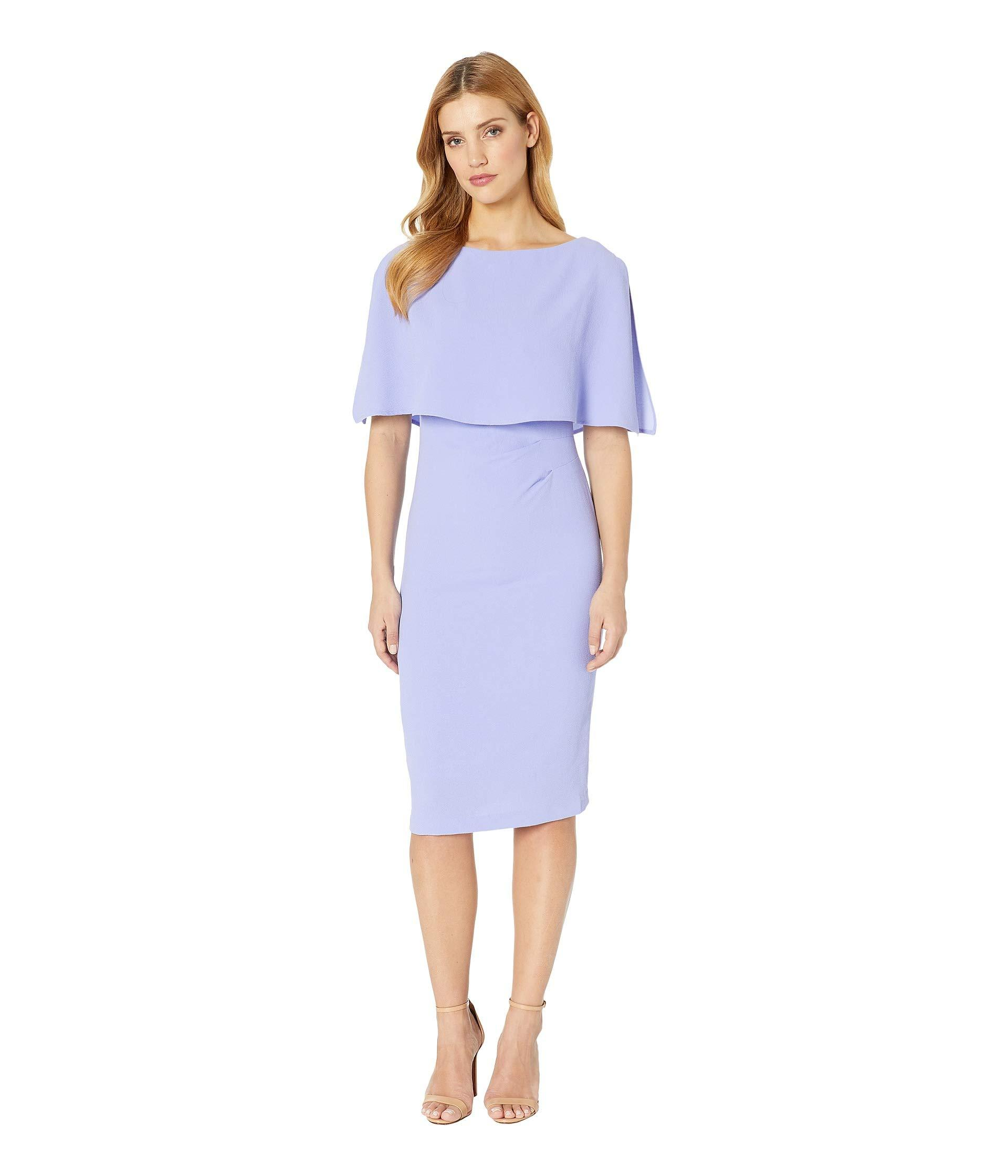 6f53ae510e8 Lyst - Adrianna Papell Boat Neck Cape Sheath Dress (smoky Hyacinth ...