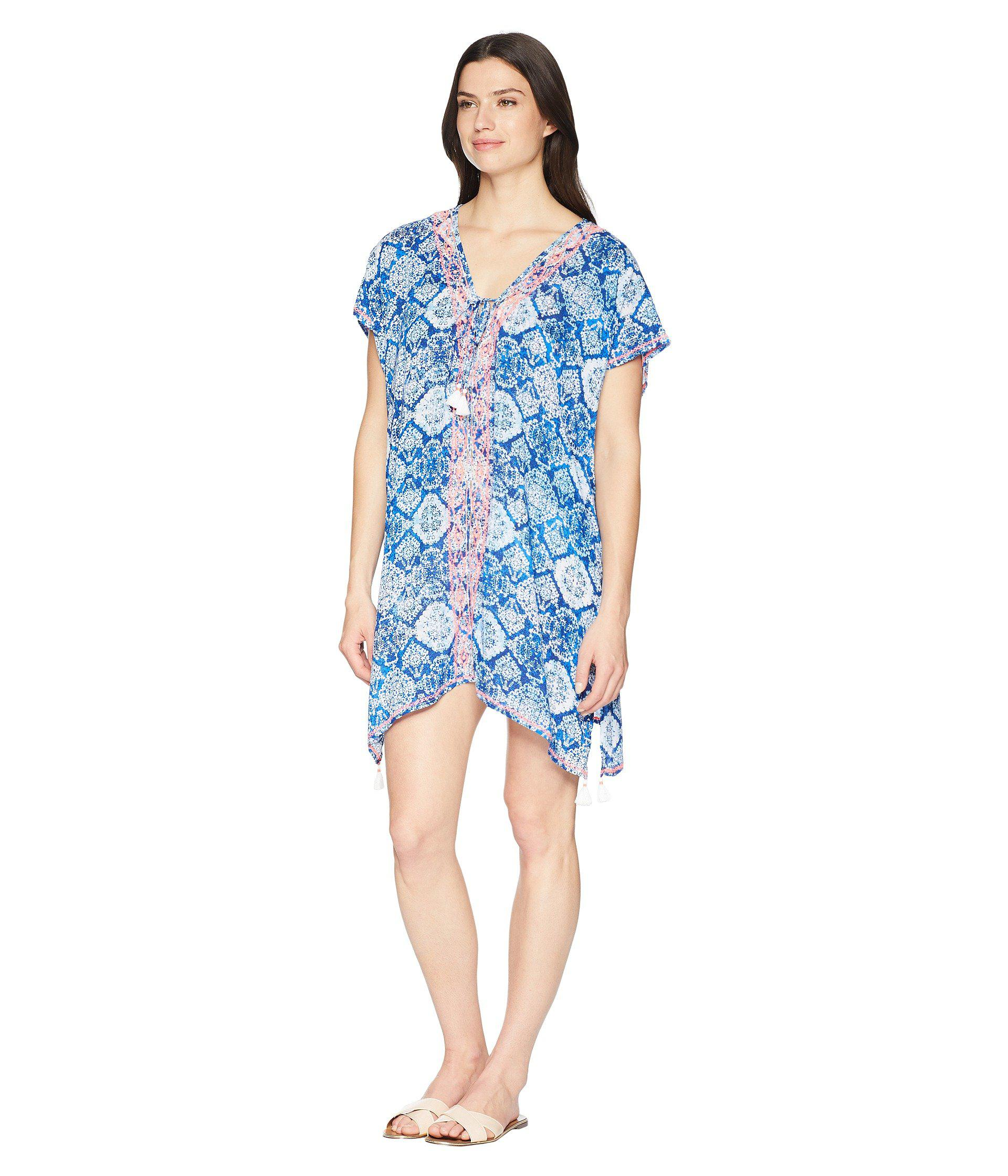 Lyst - Lauren By Ralph Lauren Aegean Tile Embroidered Tunic Cover-up (blue)  Women\u0027s Swimwear in Blue