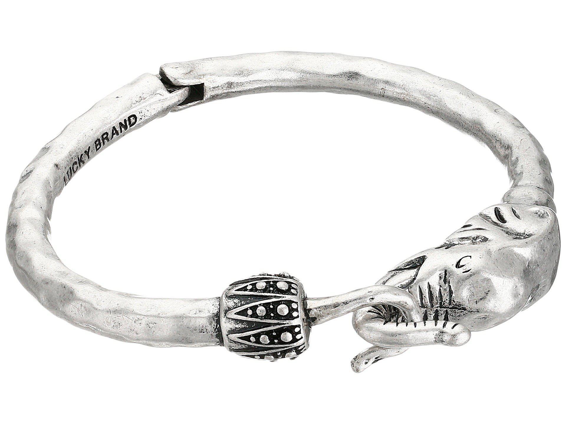 Lucky Brand Bombay Fillagree Elephant Cuff (Silver) Bracelet BvKVqD