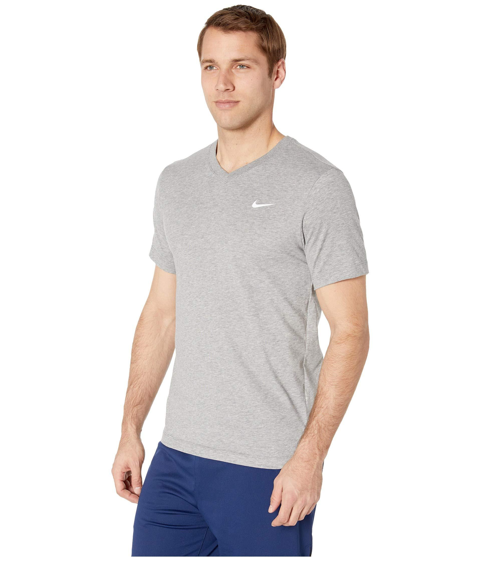 c2fe7d4bde0e Lyst - Nike Dry Tee Dri-fit Cotton V Solid (nightshade orange Peel black)  Men s Clothing in Gray for Men