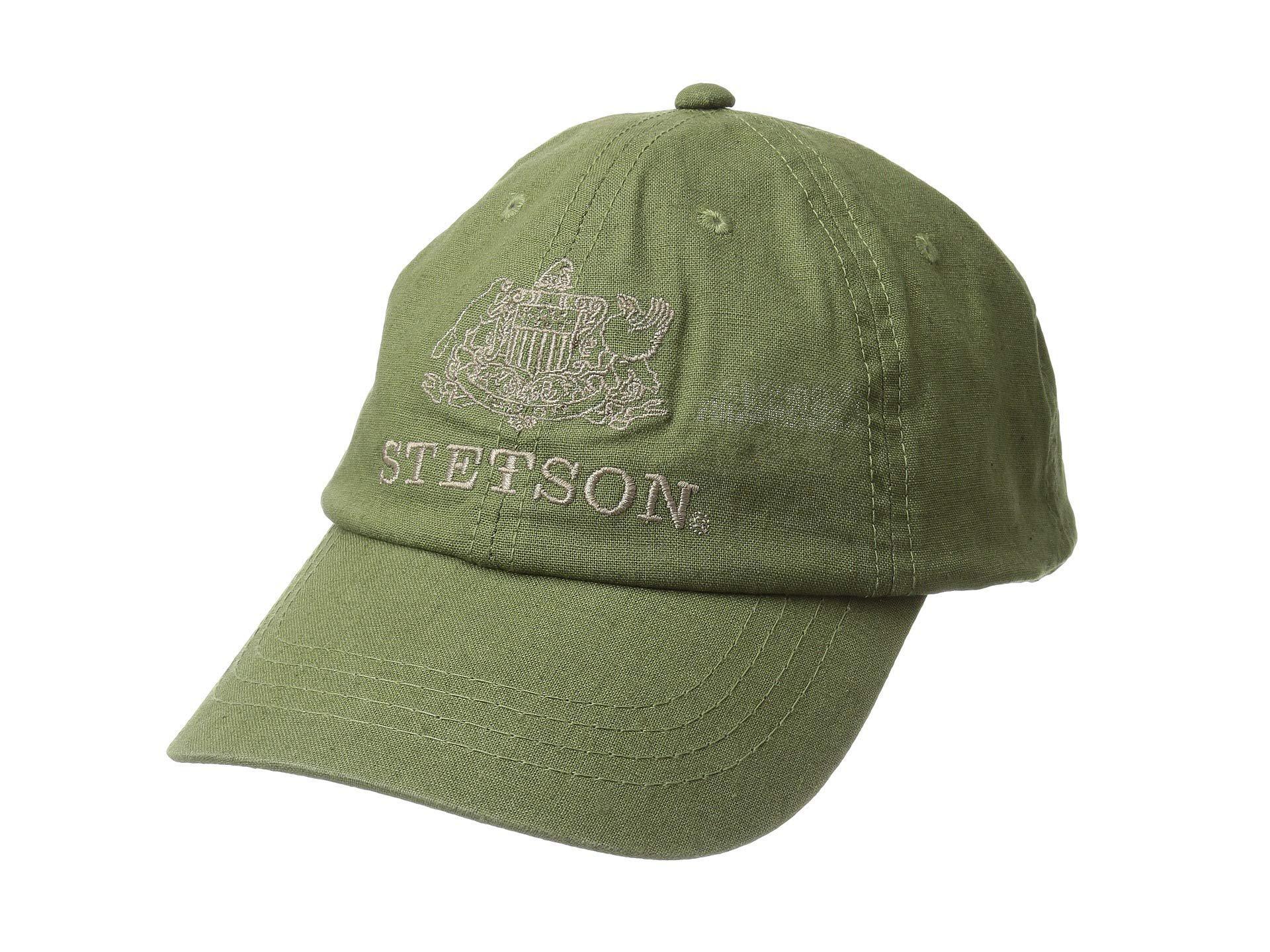 59ef9fb09a186 Stetson - Green Linen Blend Unstructured Baseball Cap (black) Caps for Men  - Lyst. View fullscreen
