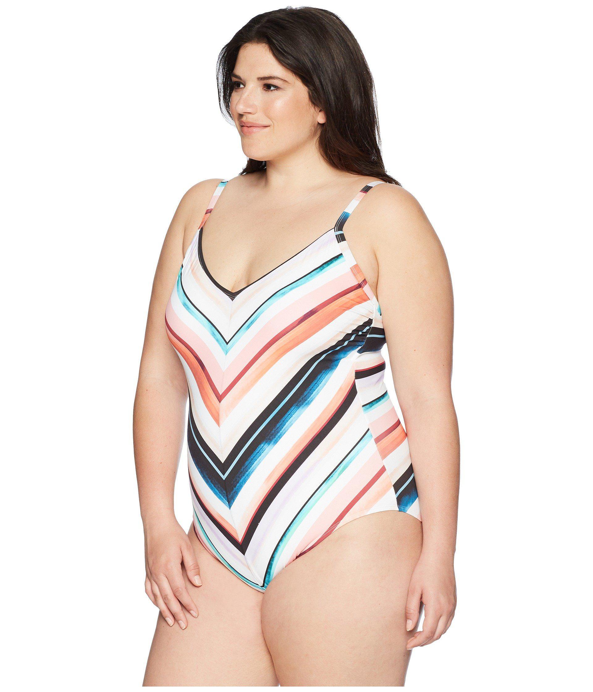 b3c028e4d33 Lyst - La Blanca Plus Size Mitered One-piece (multicolor) Women's ...
