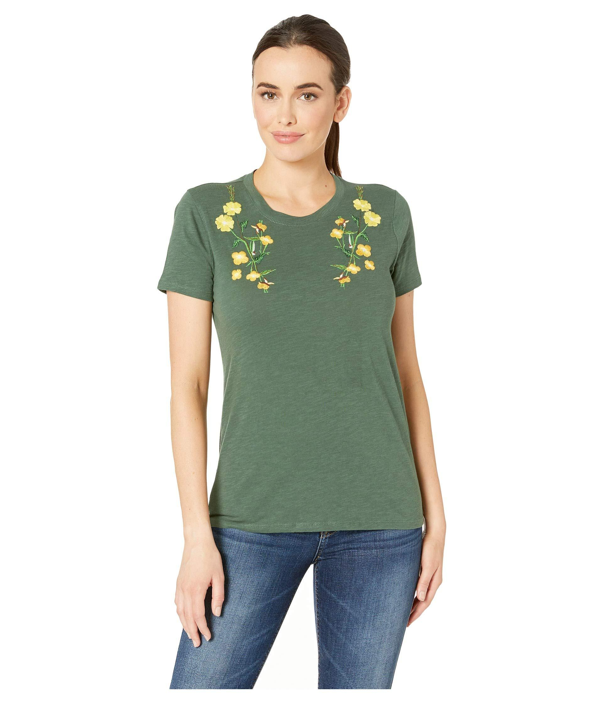 1d7e66a6 Lucky Brand Floral Embroidered Tee in Green - Save 35% - Lyst