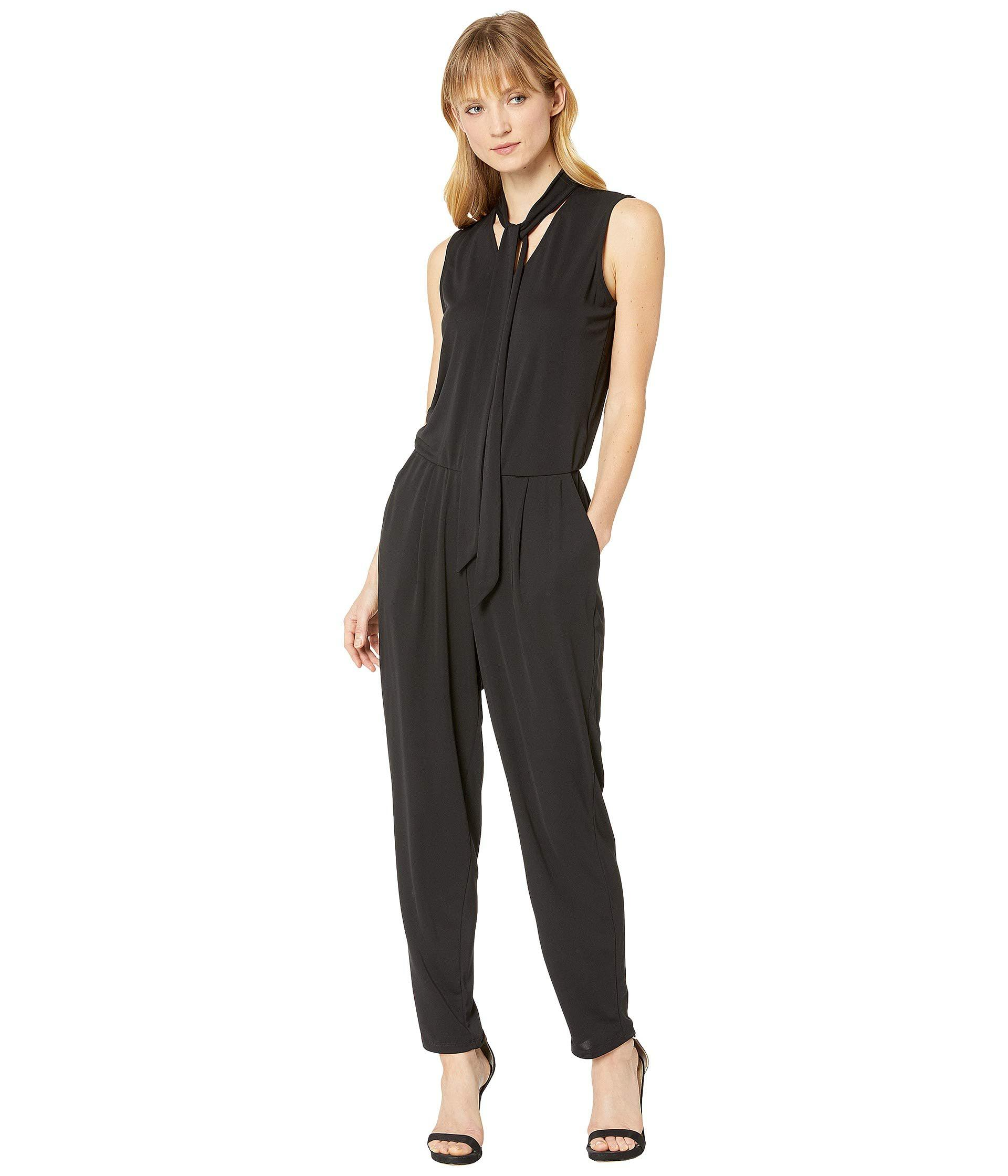 0fbab4c19a38 Lauren by Ralph Lauren. Black Tie Neck Jersey Jumpsuit (lacquer Red) Women s  Jumpsuit   Rompers One Piece