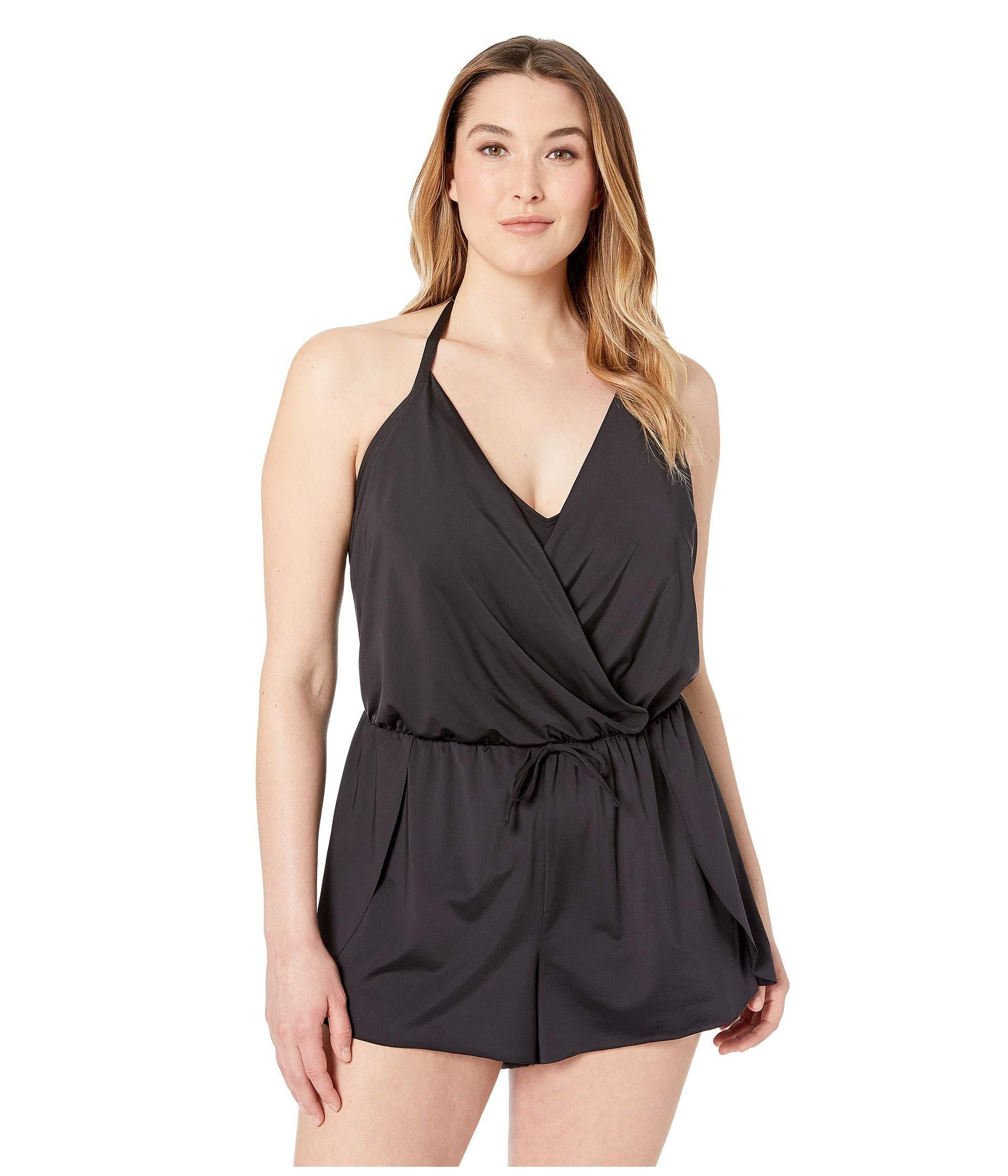 5ea74b26e50 Kenneth Cole. Plus Size Ruffle-licious Romper Cover-up (black) Women s  Swimsuits One Piece
