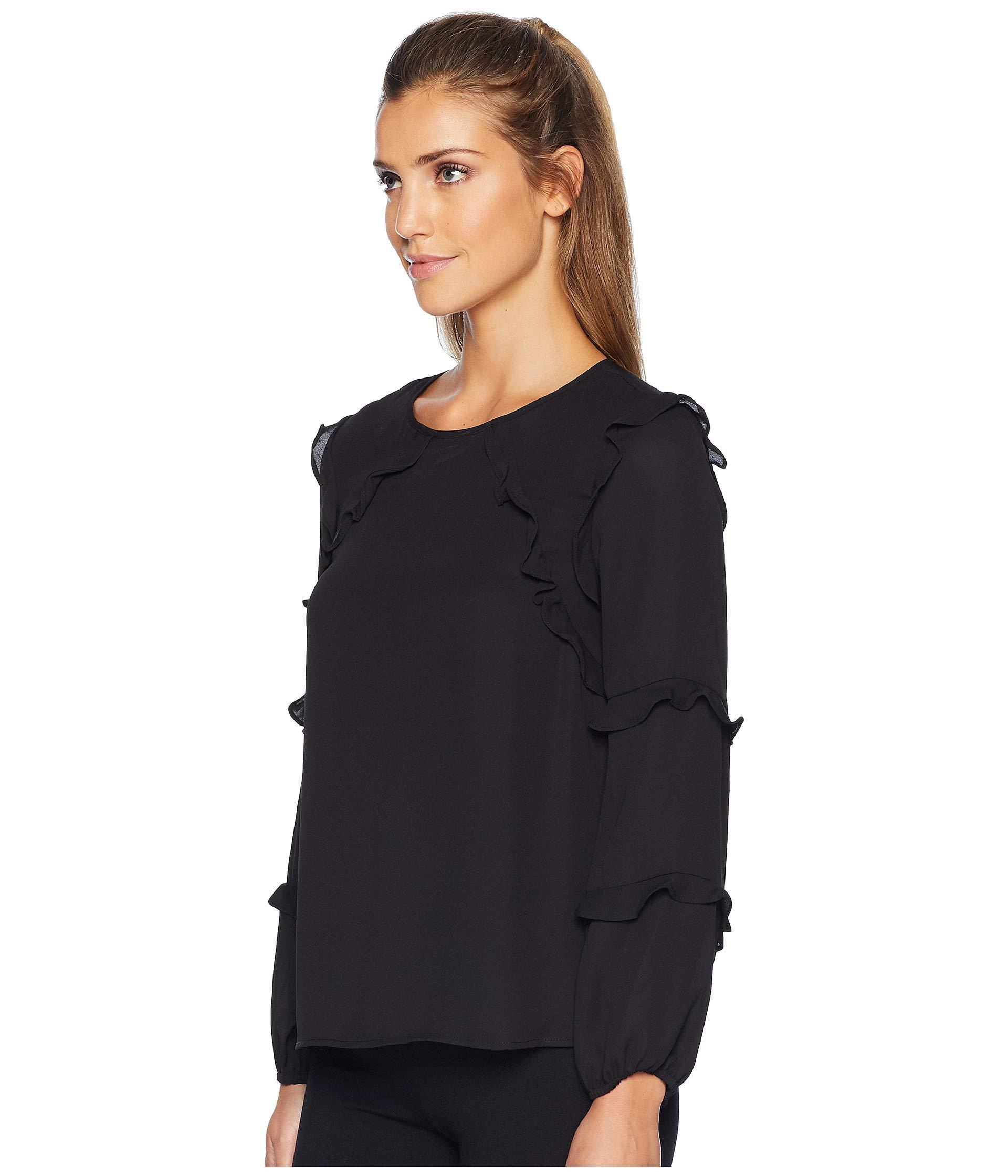 05eaa52cec9b4 Lyst - Cece Long Sleeve Tiered Ruffle Blouse (rich Black) Women s Blouse in  Black