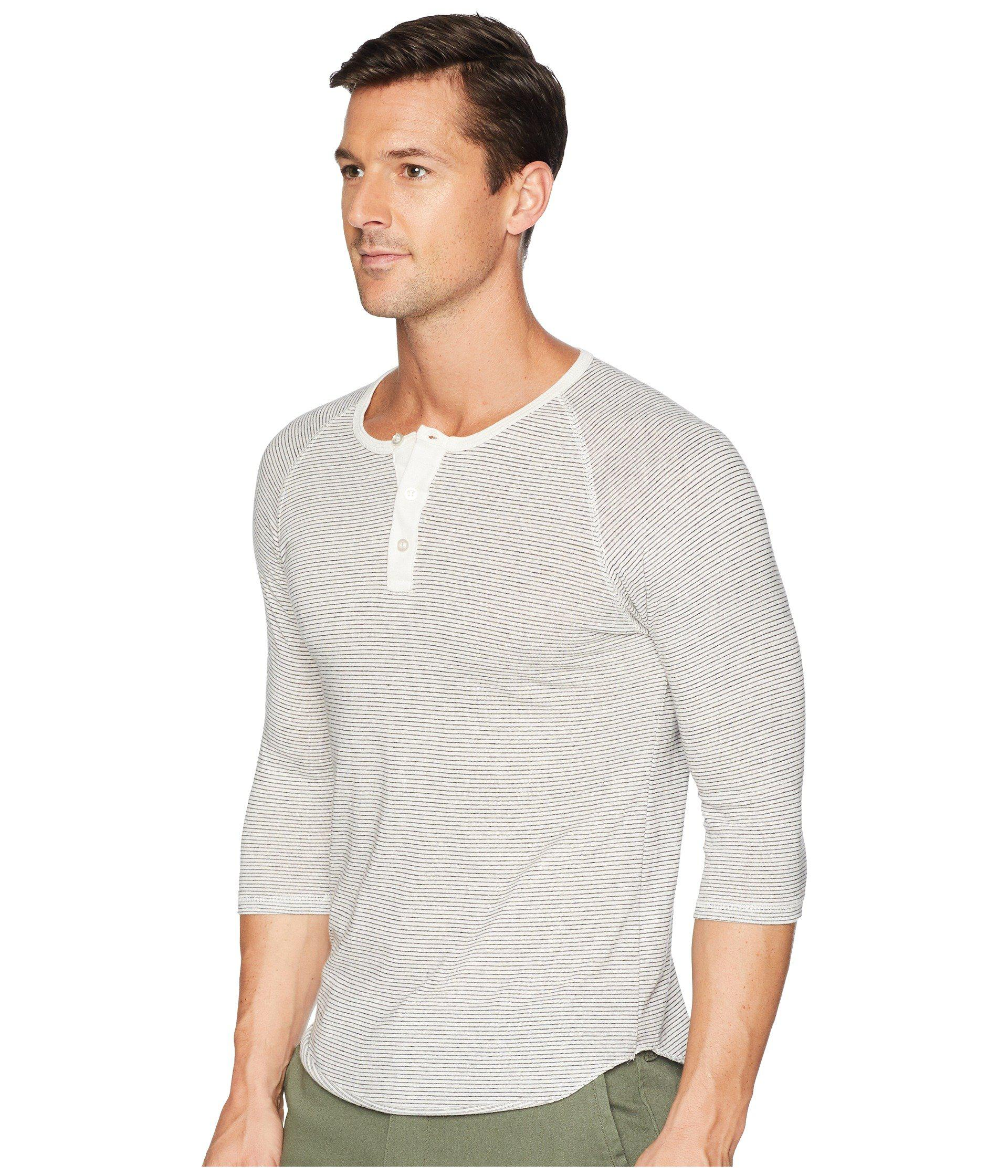 6eefced67 Alternative Apparel 3/4 Raglan Henley (eco Ivory Seaside Stripe) Men's  Clothing in White for Men - Lyst