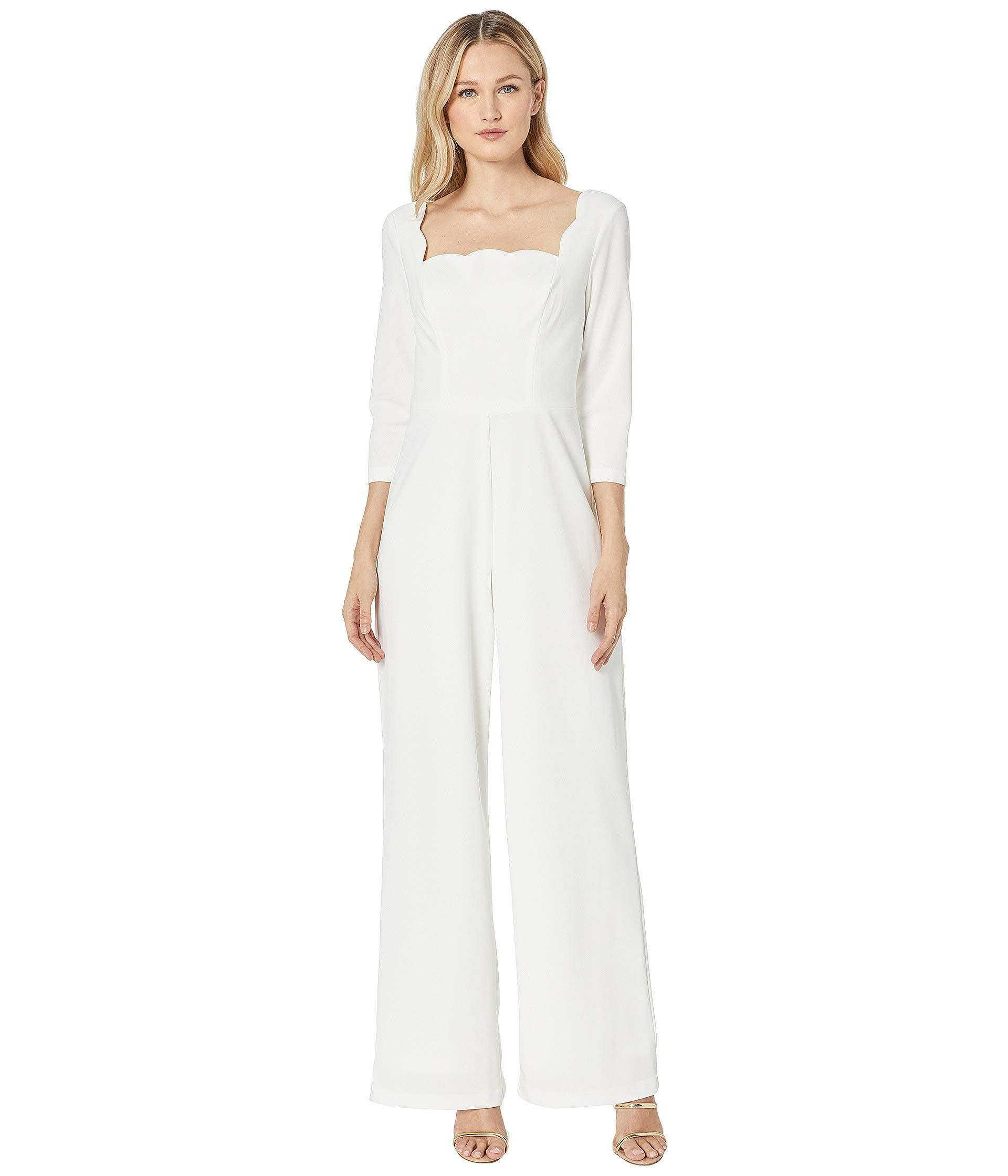 Lyst Adrianna Papell Knit Crepe Scalloped Jumpsuit Ivory Womens