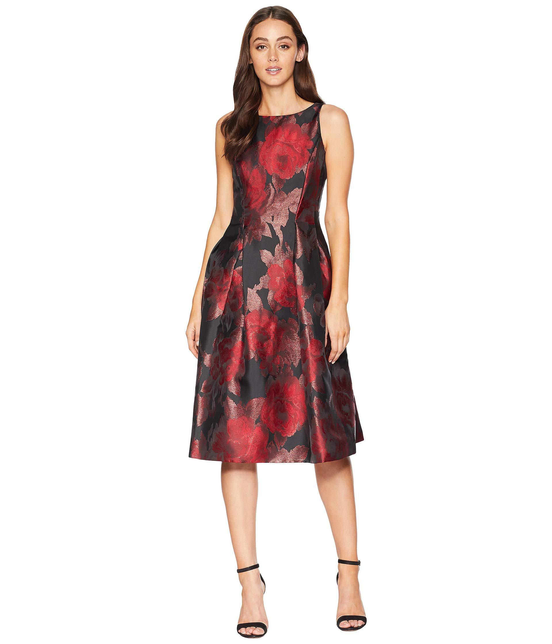 e05a909dc3a8 Tahari Tea-length Floral Metallic Jacquard Dress (black/red/copper ...