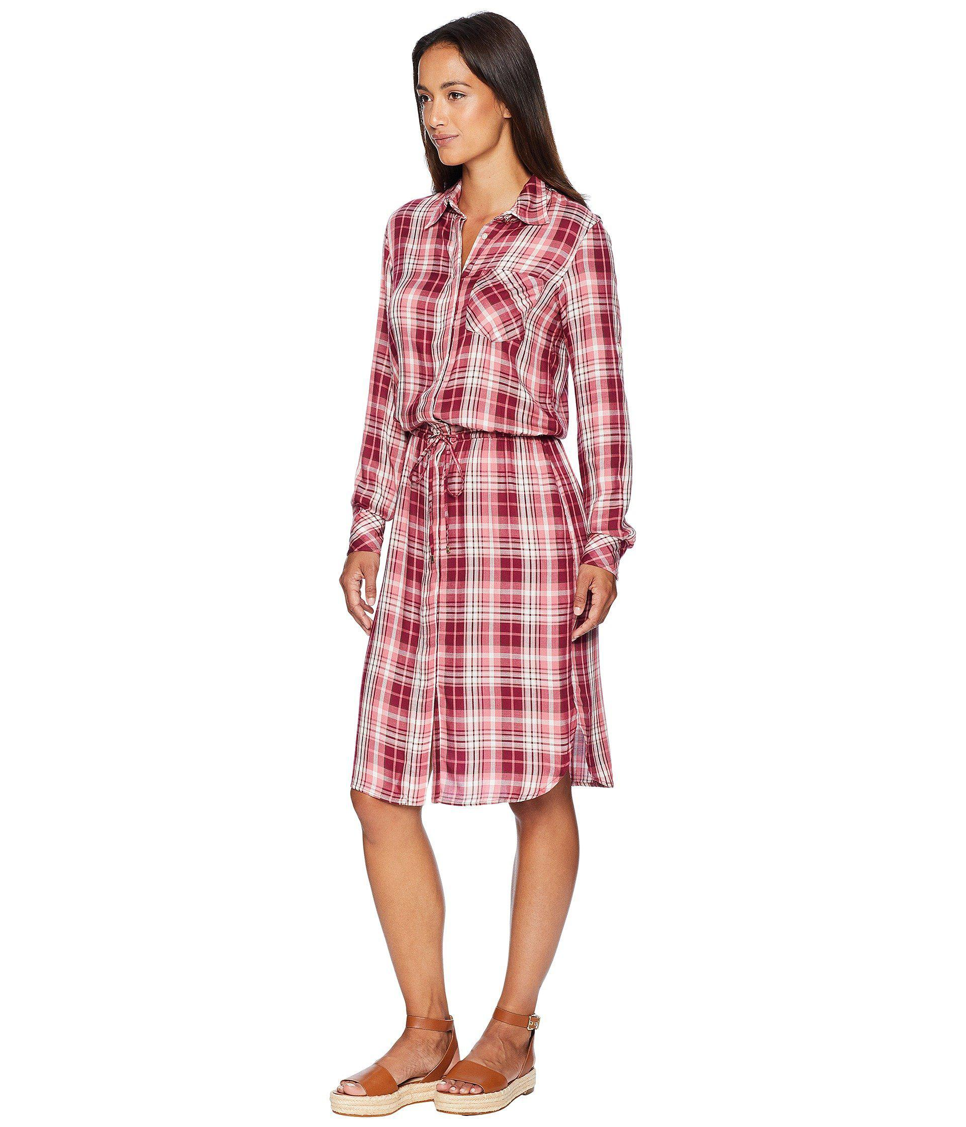 eb3ed7a4c094 Lyst - Lauren by Ralph Lauren Plaid Drawstring Shirtdress (red Multi)  Women s Dress in Red