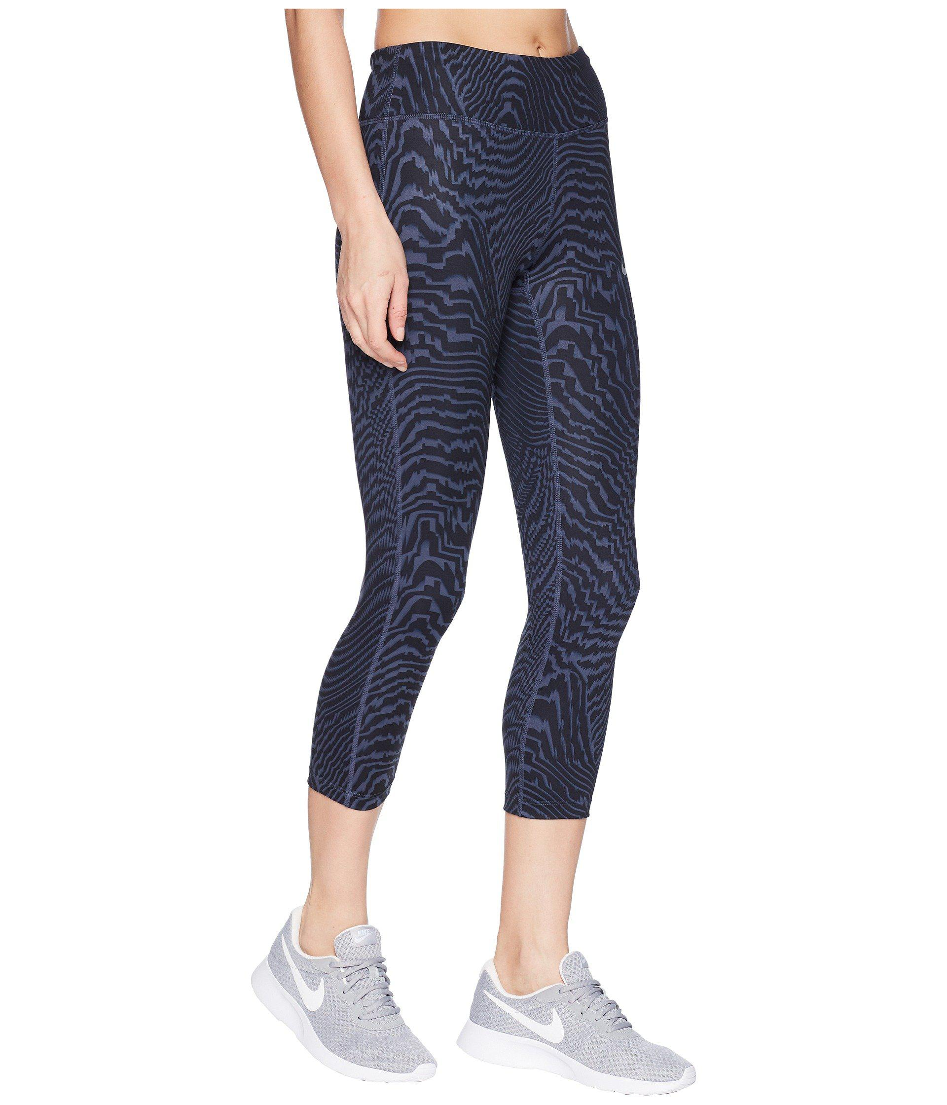 c806013b34b45b Lyst - Nike Power Essential Crop Print in Blue