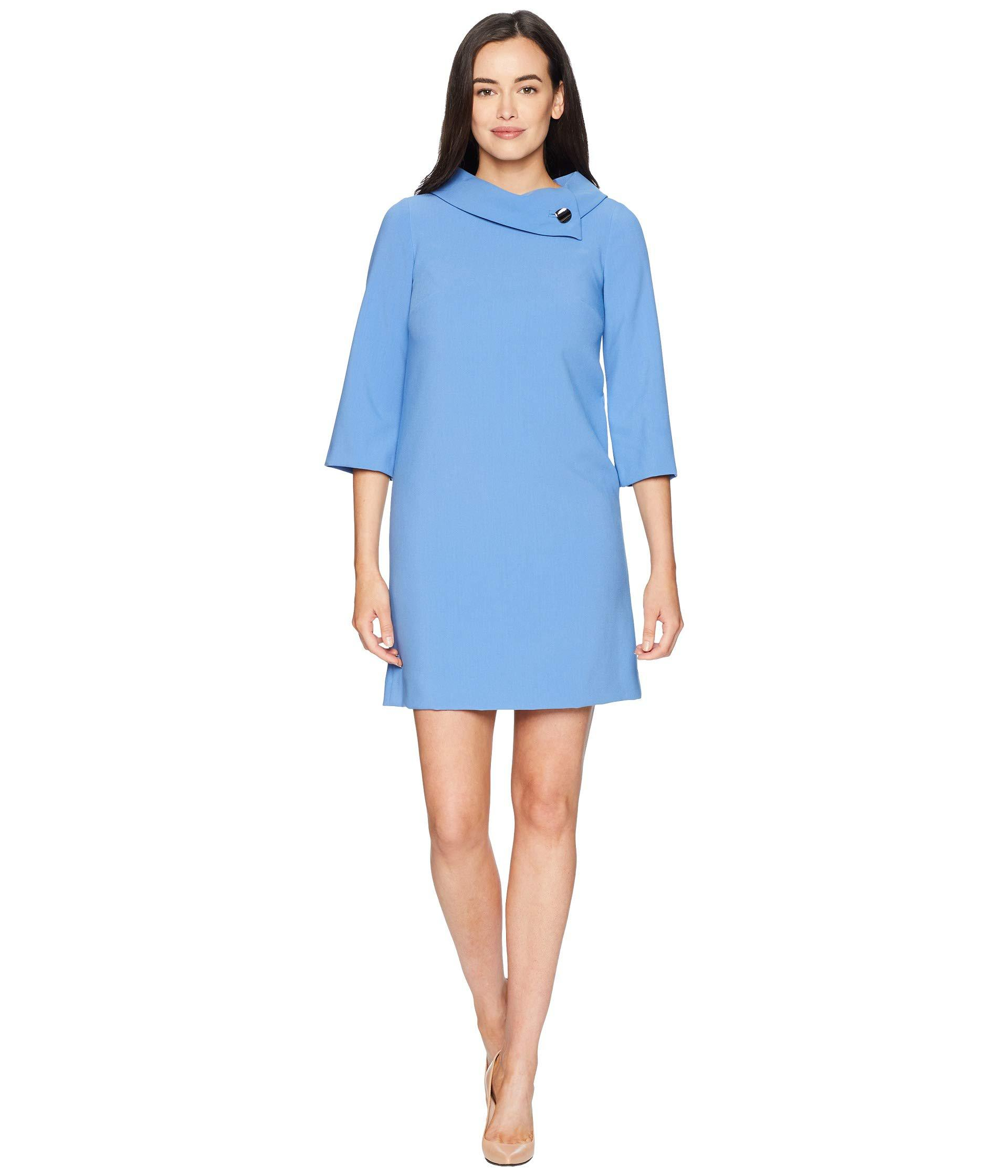 Lyst Tahari 3 4 Sleeve Sheath With Envelope Neckline And Button