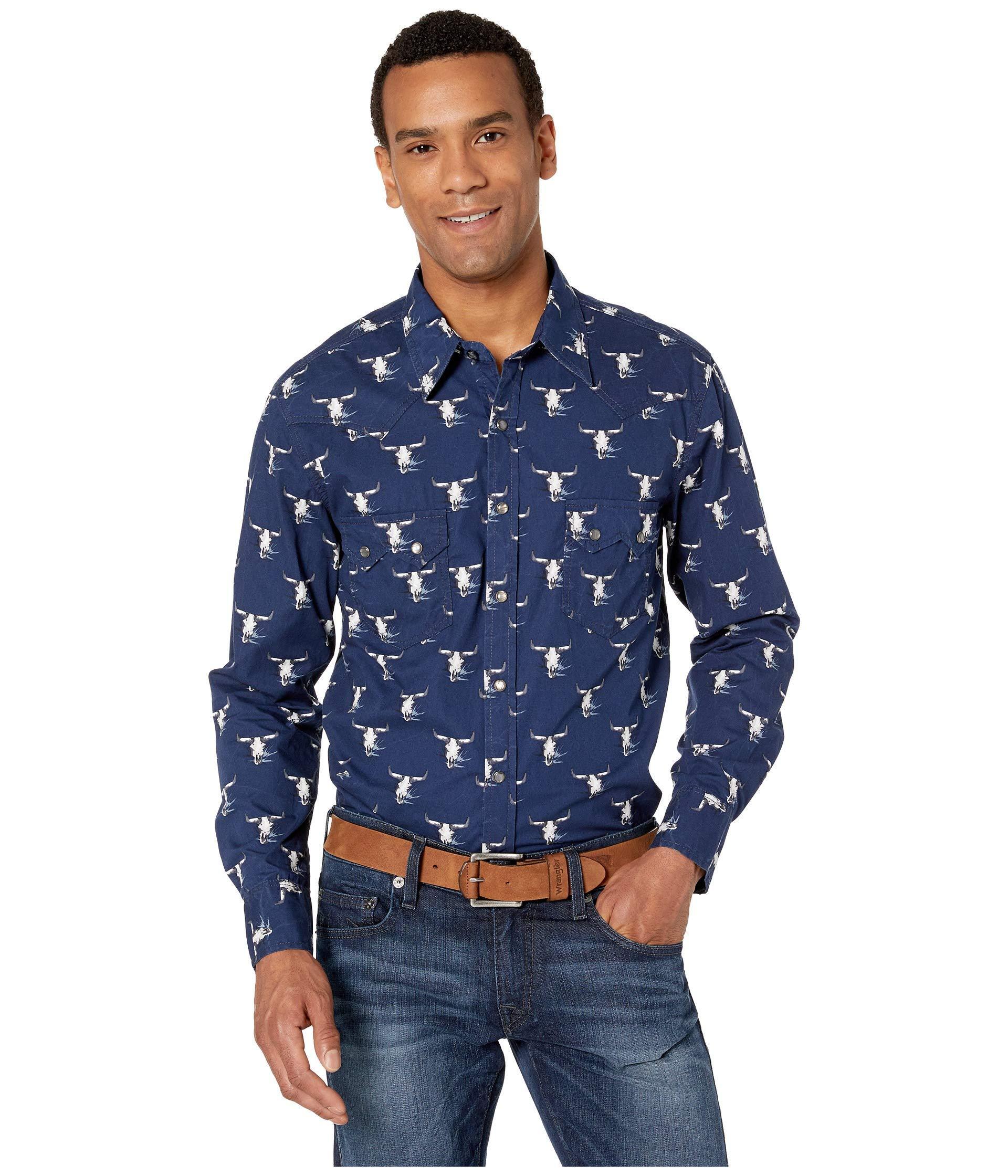 ed19f3f11c4b1 Rock And Roll Cowboy. Long Sleeve Printed Snap B2s1133 (blue) Men s Clothing