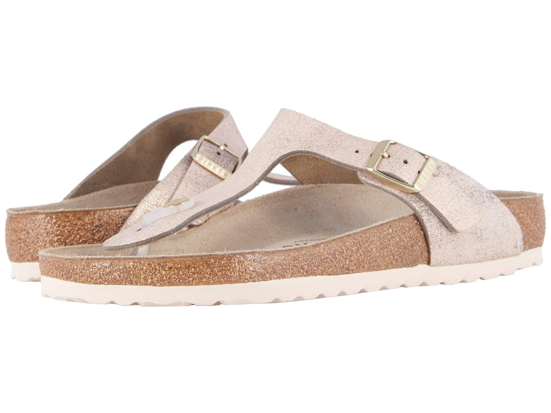 9a21a050034 Lyst - Birkenstock Gizeh (washed Metallic Rose Leather) Women s ...