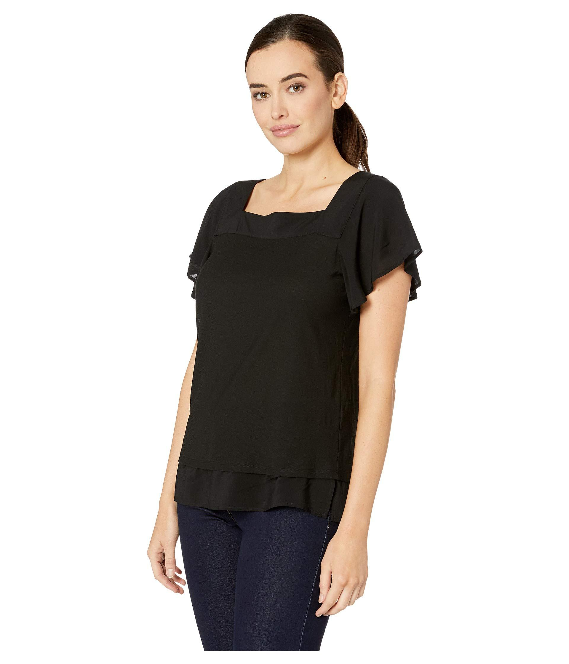 601b85b872b7 Lyst - Two By Vince Camuto Short Sleeve Squared Neck Layered Top (ultra  White) Women's Short Sleeve Pullover in Black