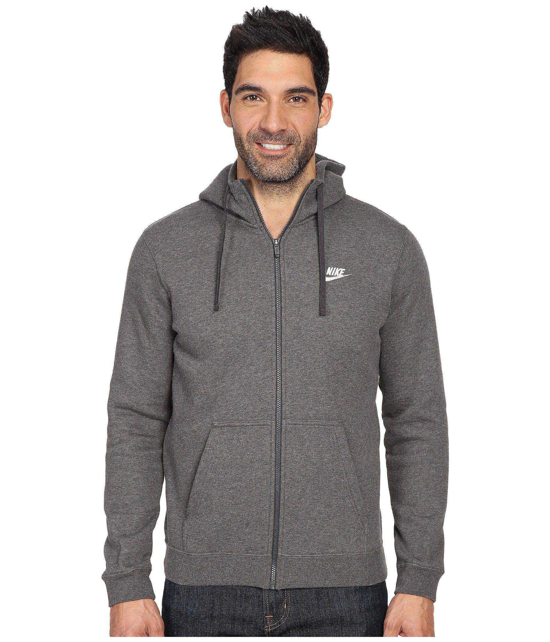 5ede409effd5 Nike. Gray Club Fleece Full-zip Hoodie (black black white) Men s Fleece