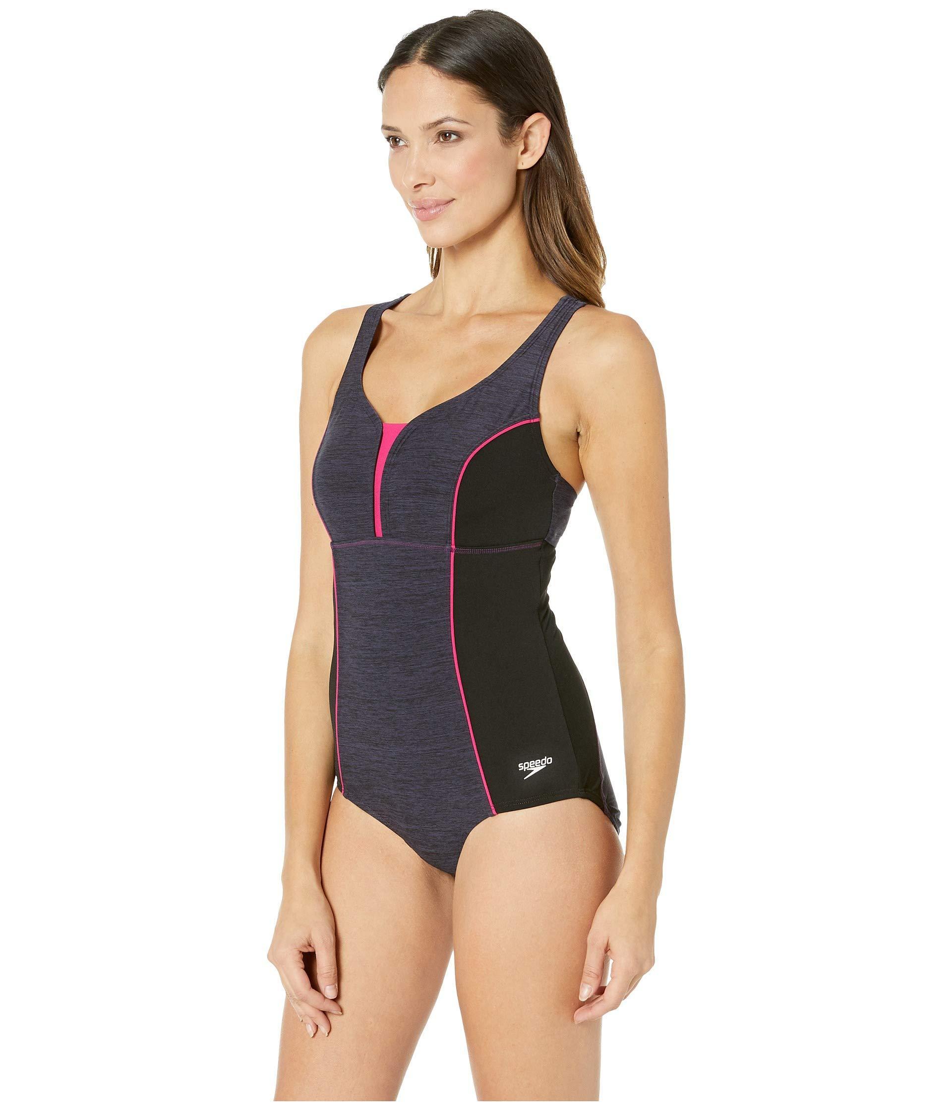 5f8ff1fde00 Lyst - Speedo Texture Touchback One-piece (gravity) Women's Swimsuits One  Piece in Black