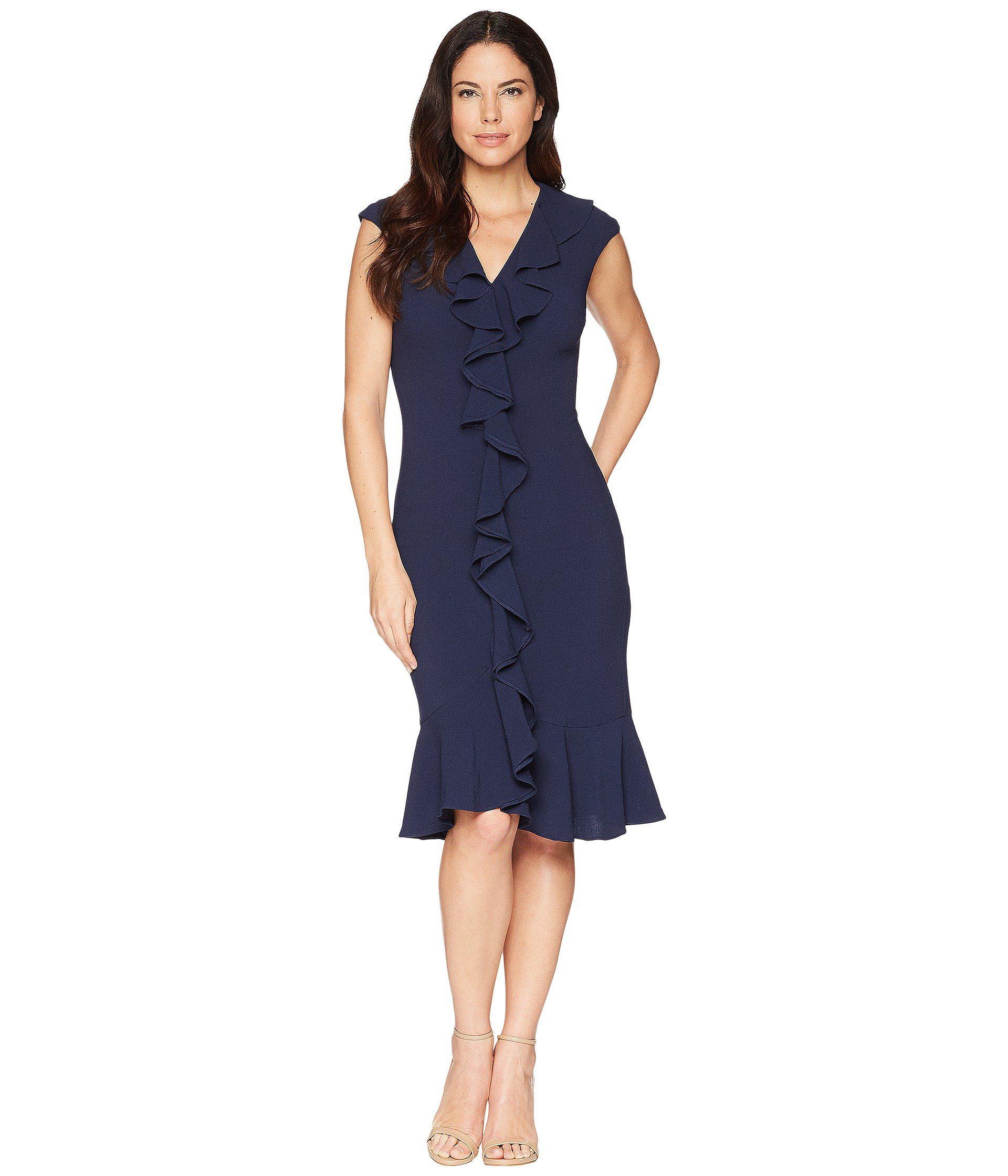 46987e98757 Maggy London - Blue 30s Crepe Cascade Ruffle Front Dress (navy) Women s  Dress -. View fullscreen