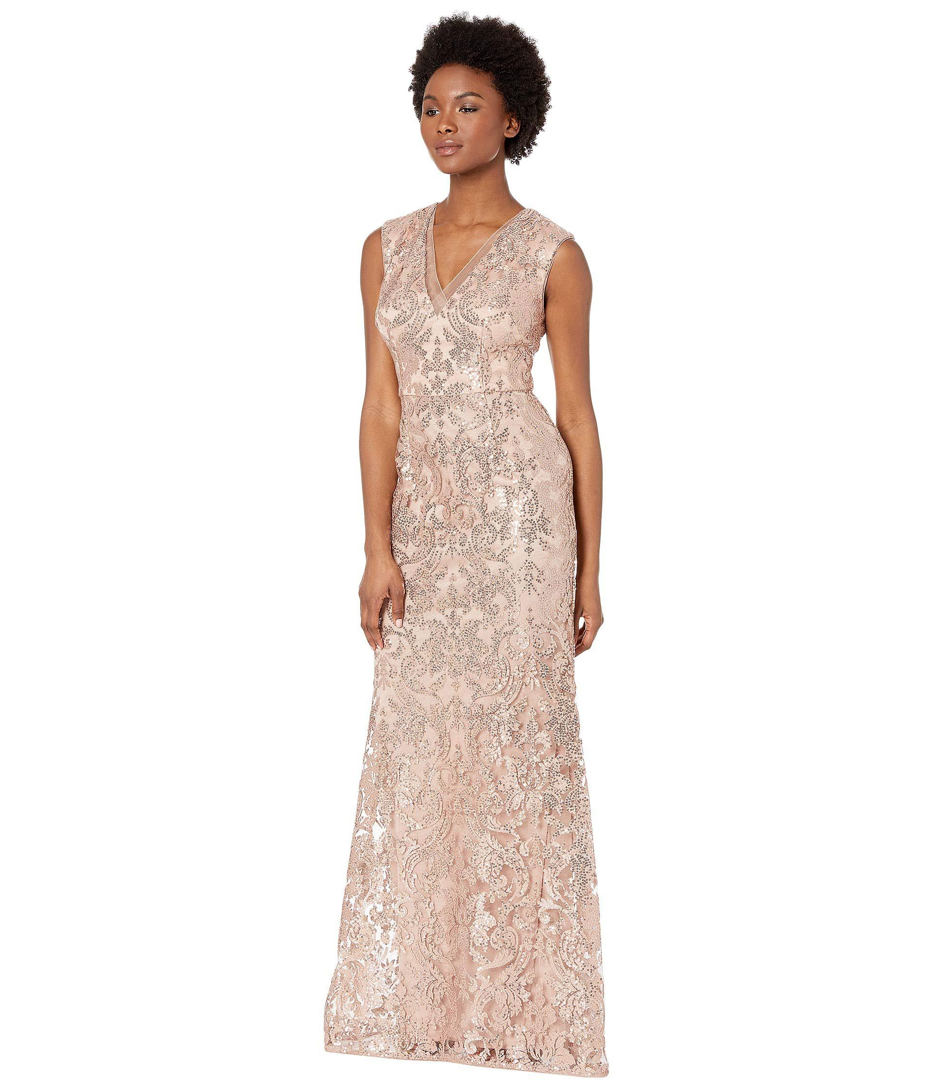 ca756b86543fe2 Adrianna Papell V-neckline All Over Sequin Embroidery Modified ...