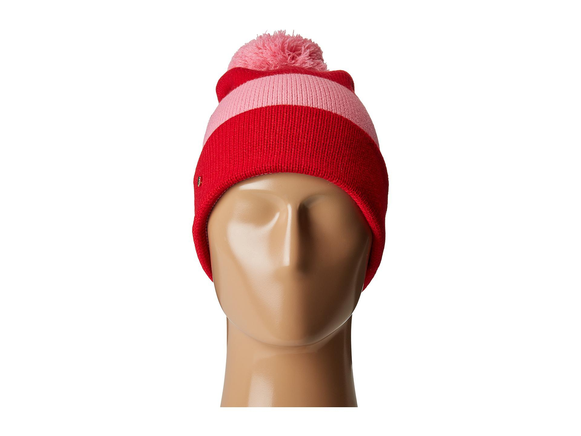 dd9f55110811 Kate Spade Color Block Beanie in Red - Lyst